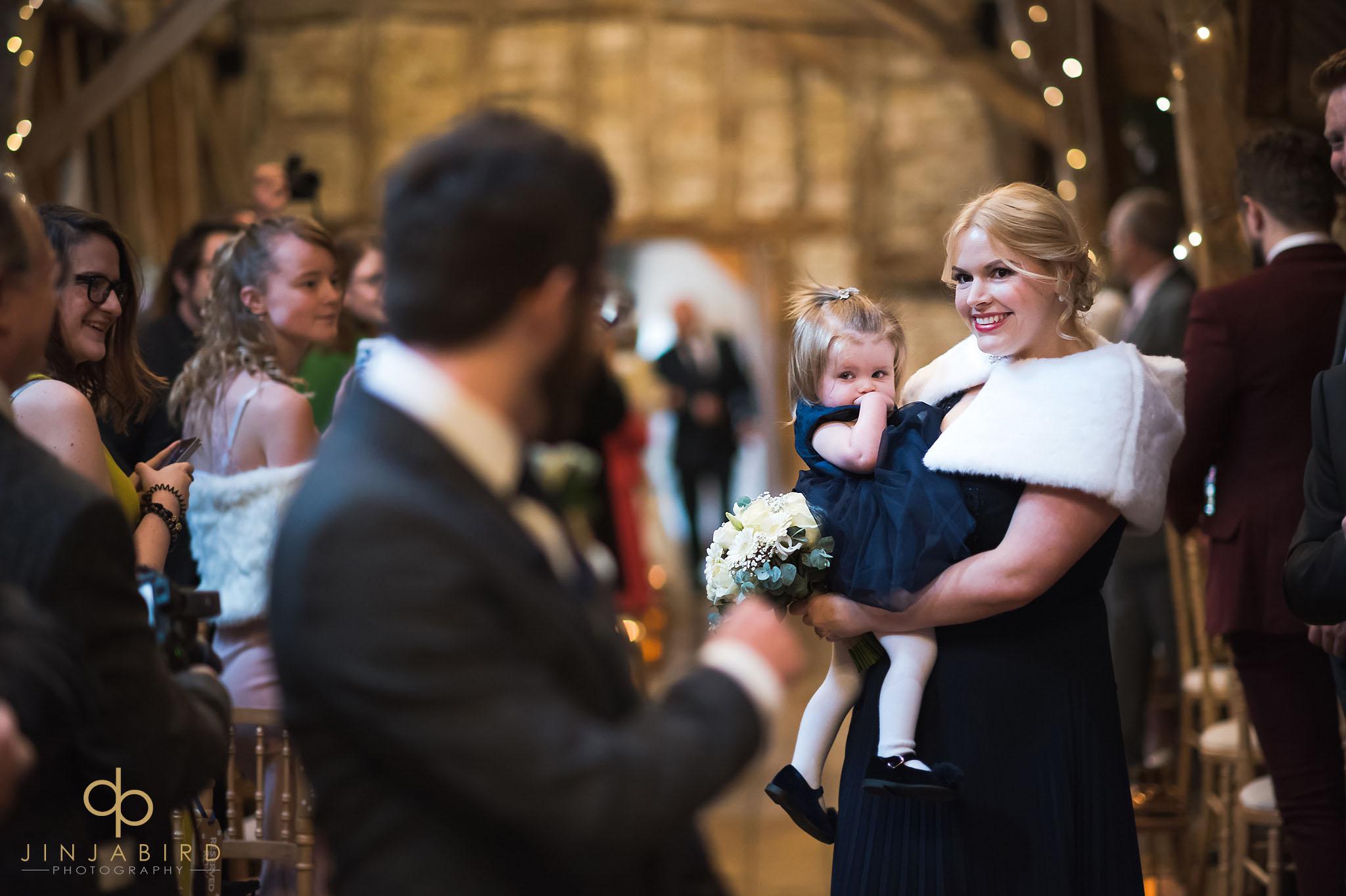 bridesmaid coming down aisle