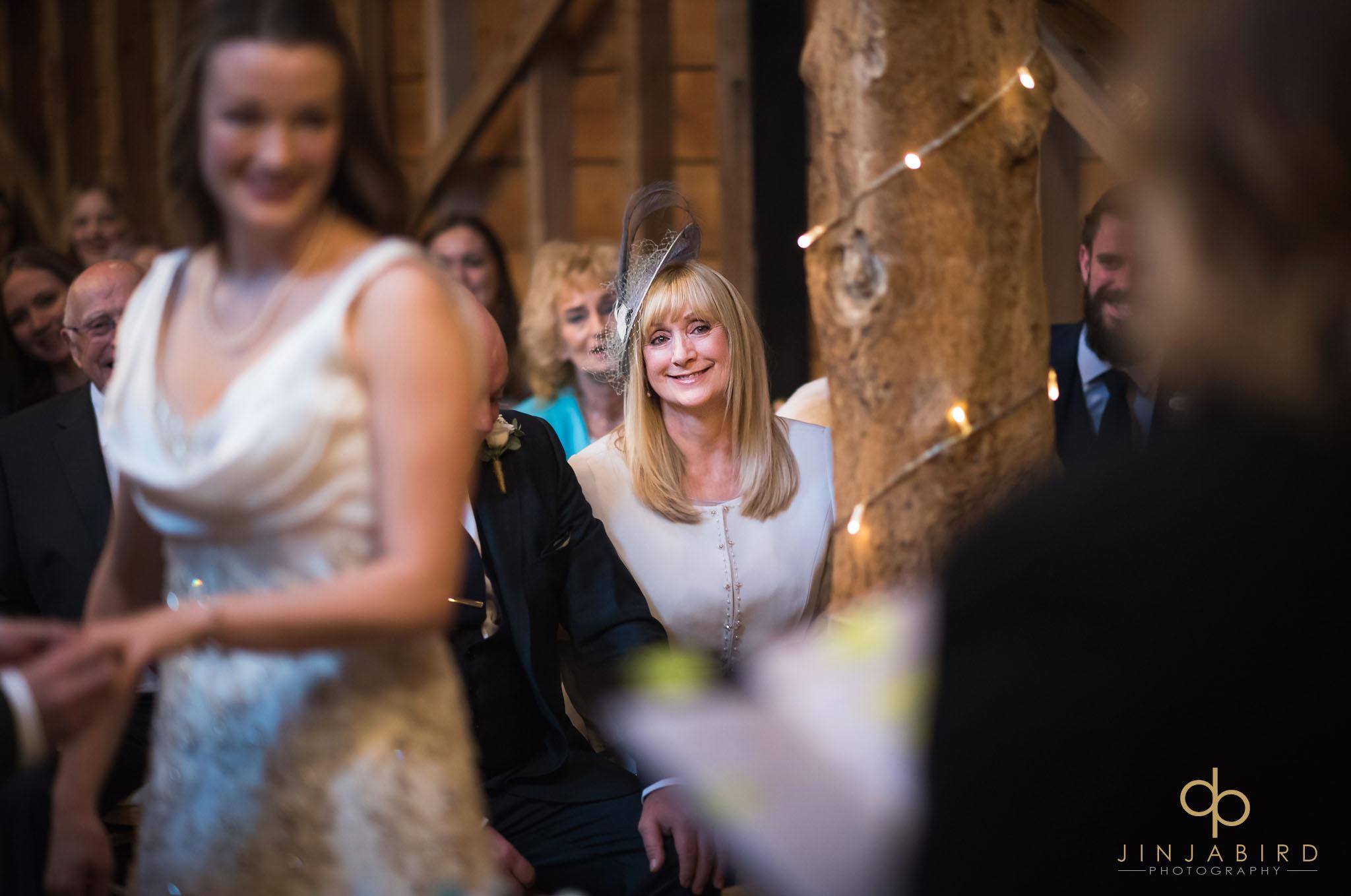 mum watching wedding rickety barn bassmead