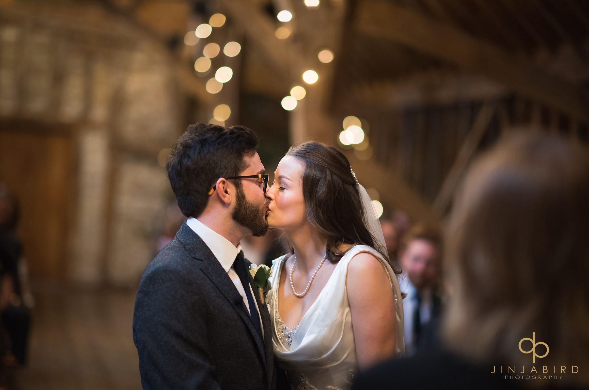bride and groom first kiss bassmead