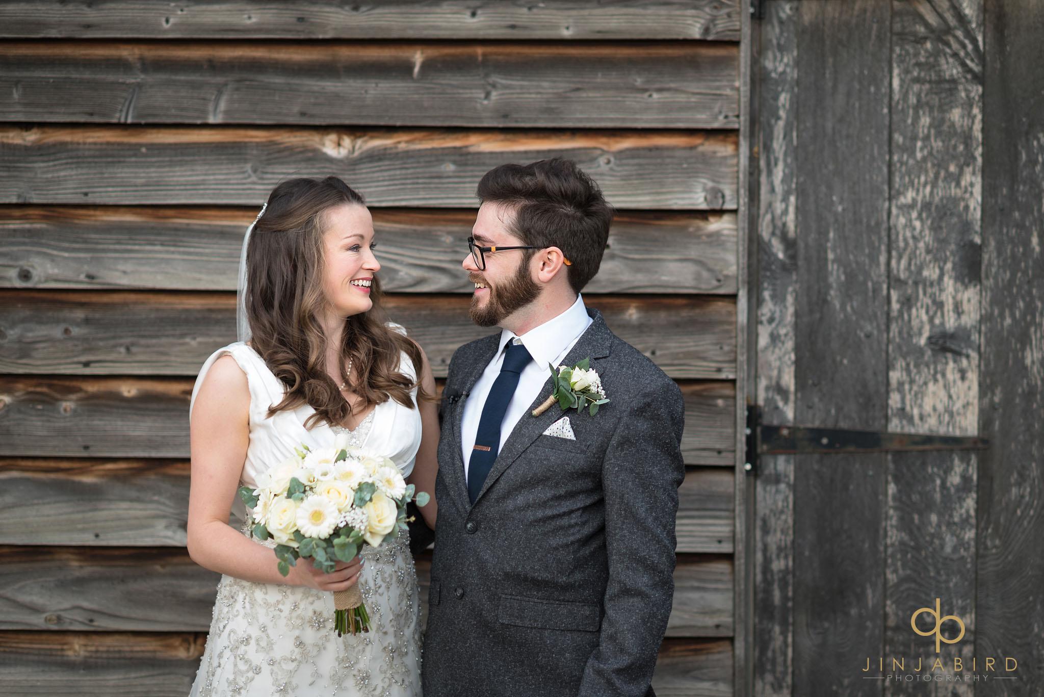 bride and groom rickety barn bassmead manor