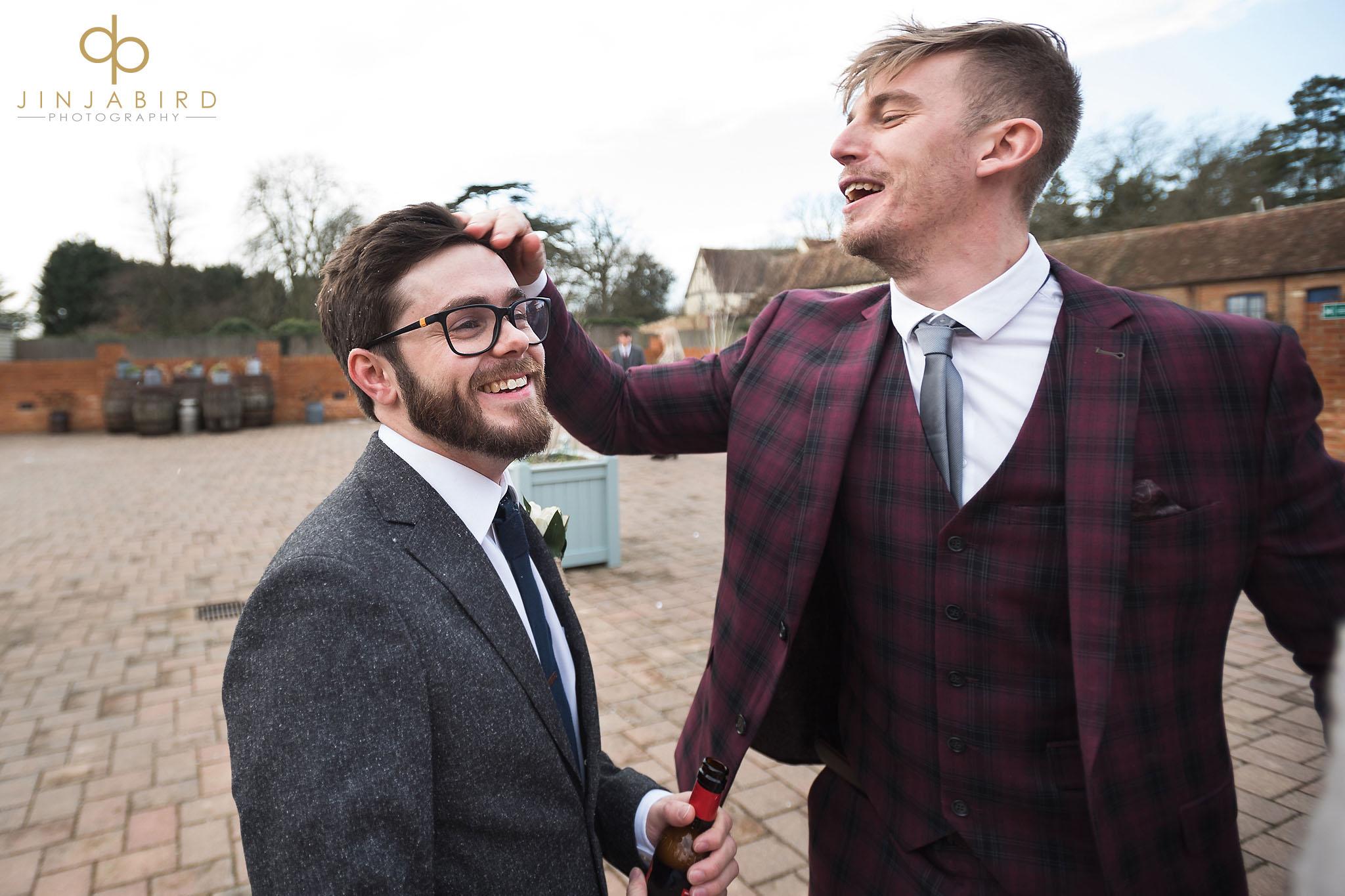 guest joking with groom