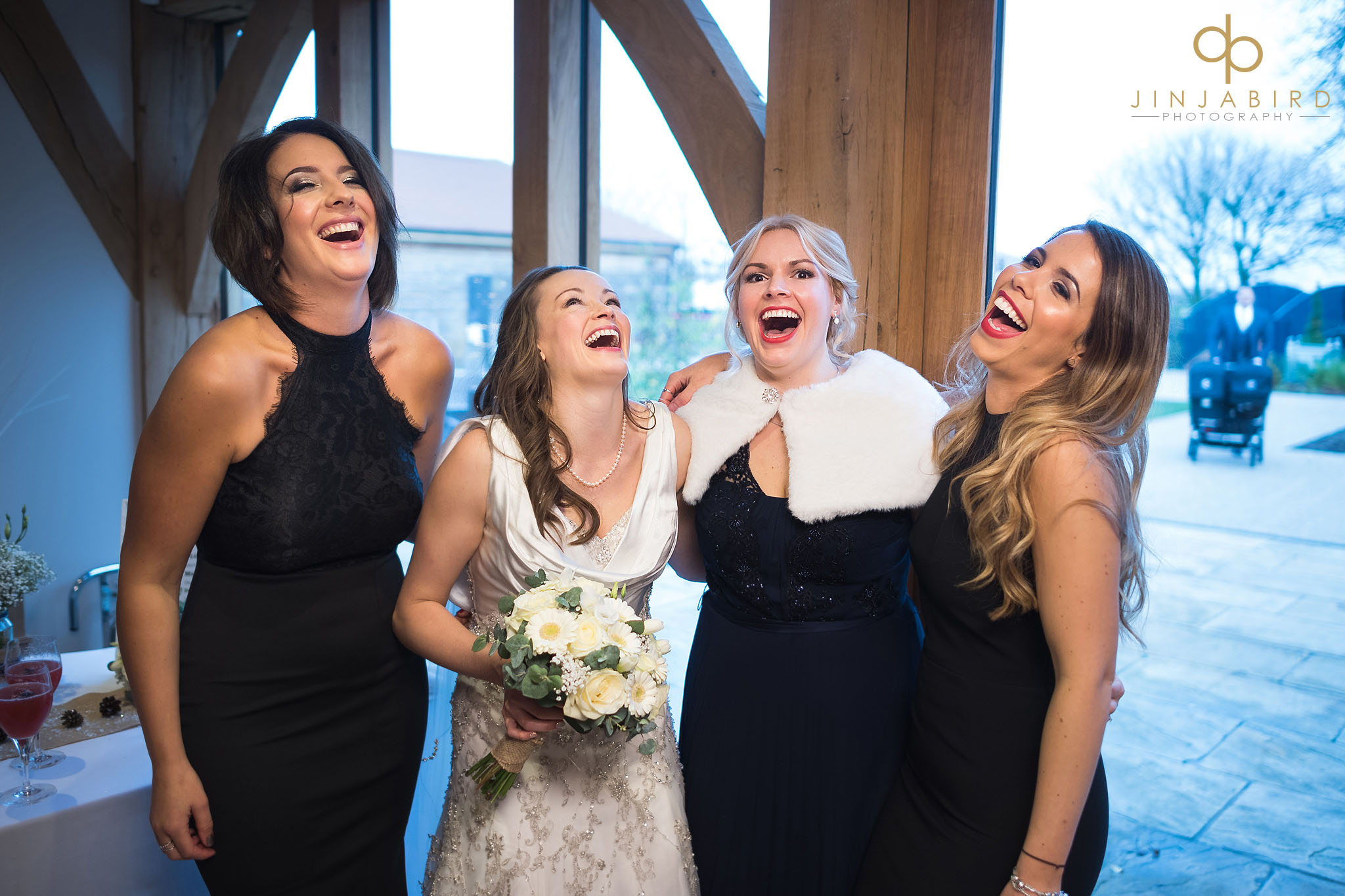 bride laughing with girls