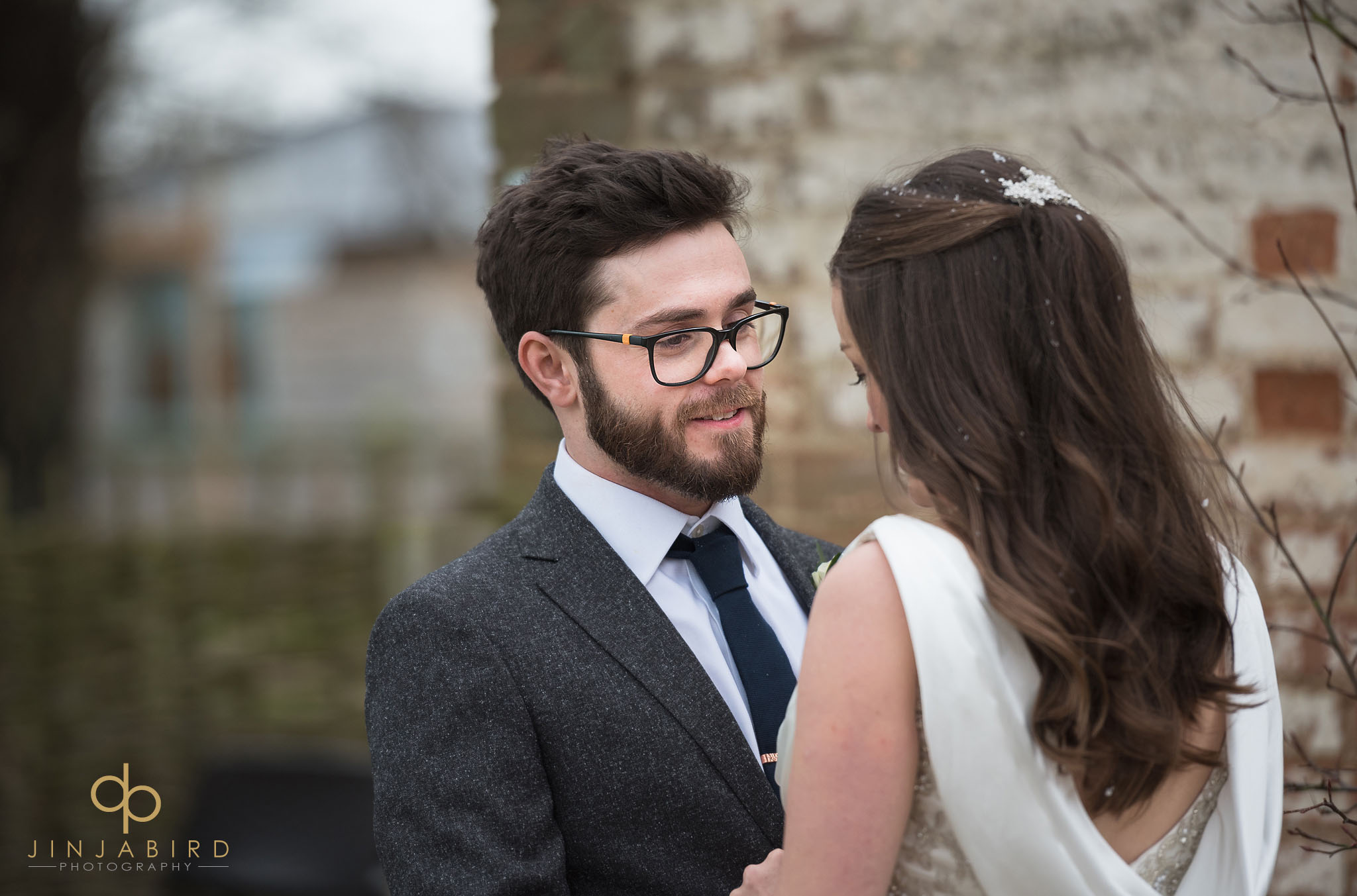 groom looking at bride bassmead manor
