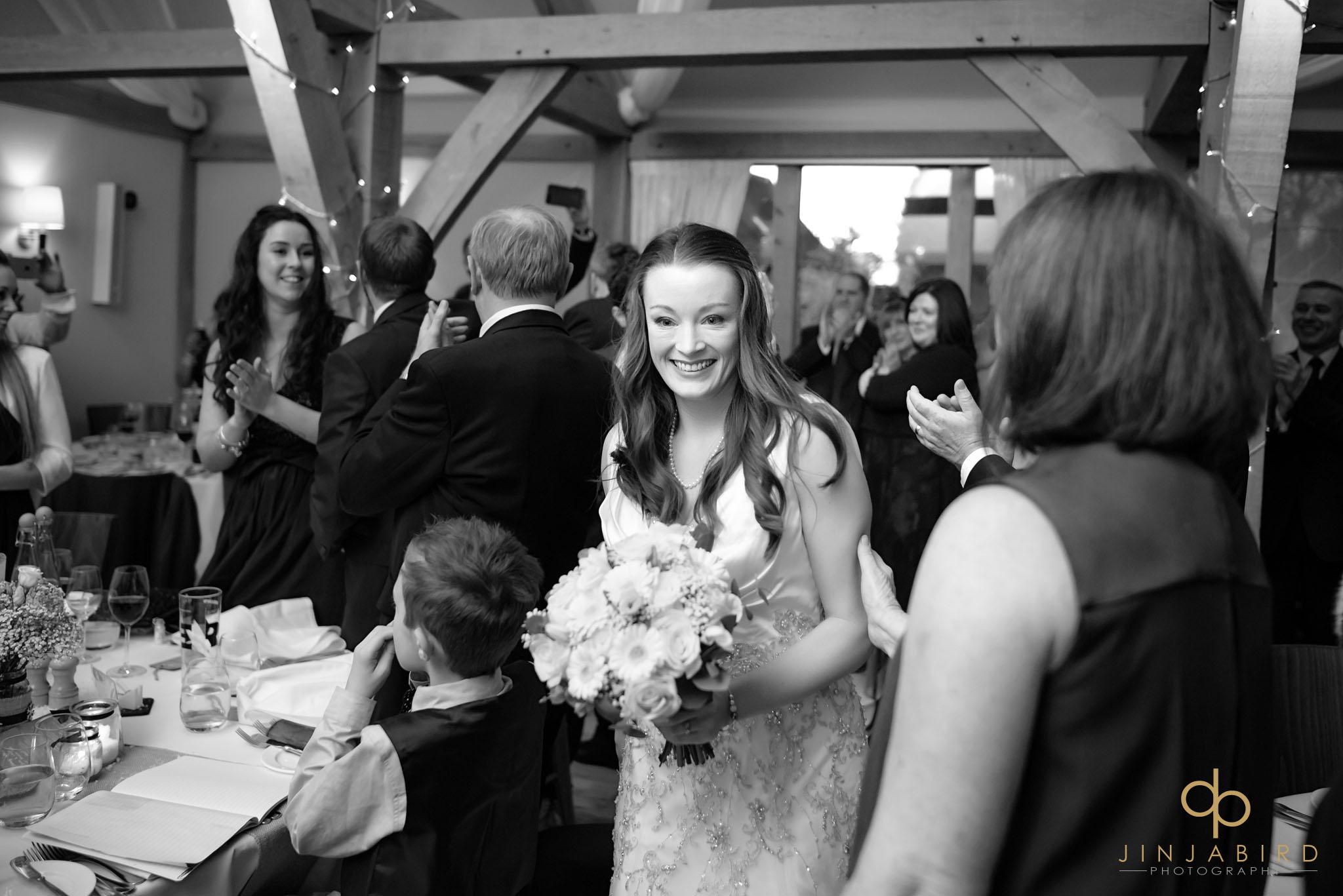 bride entering wedding dinner