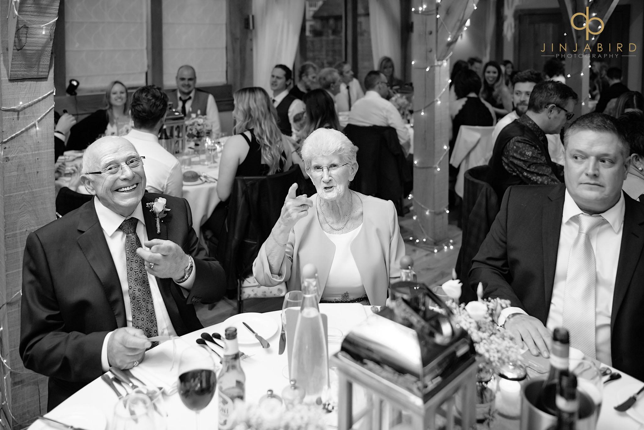 brides grandparents at dinner