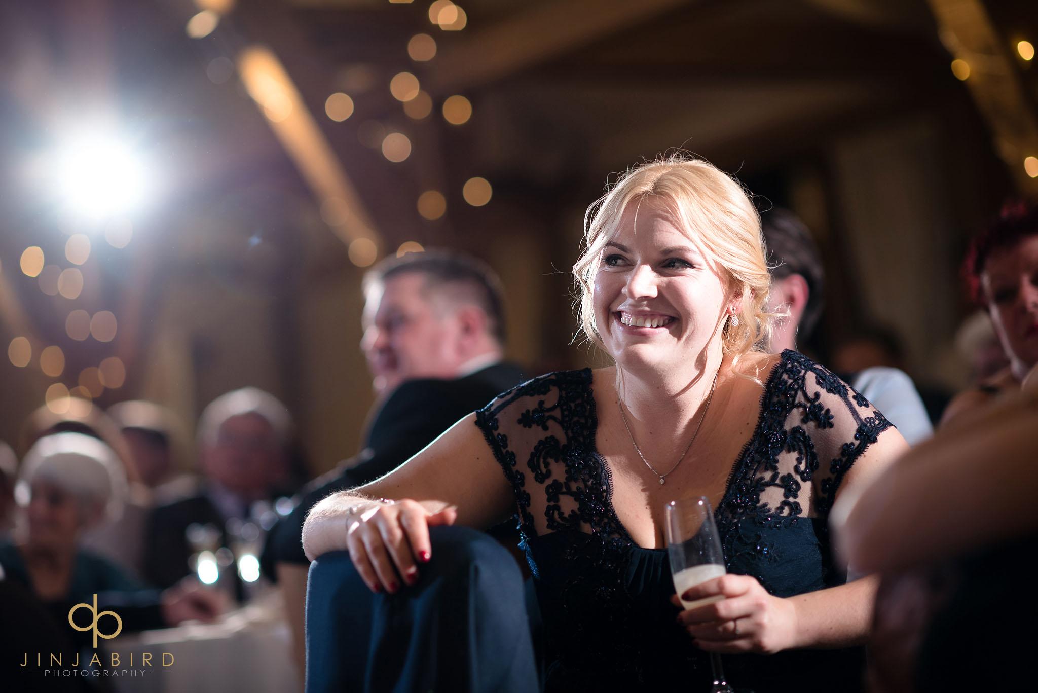 bridesmaid laughing at speech