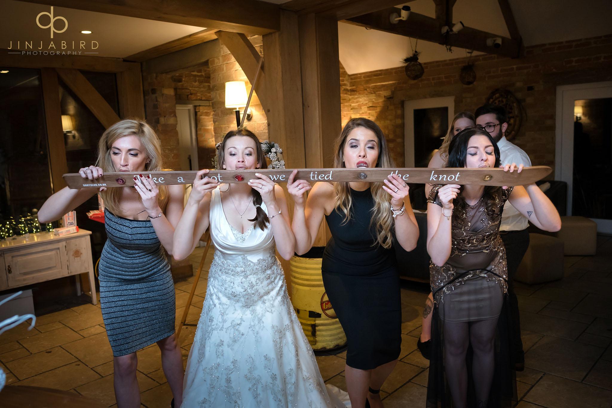 bride drinking shots