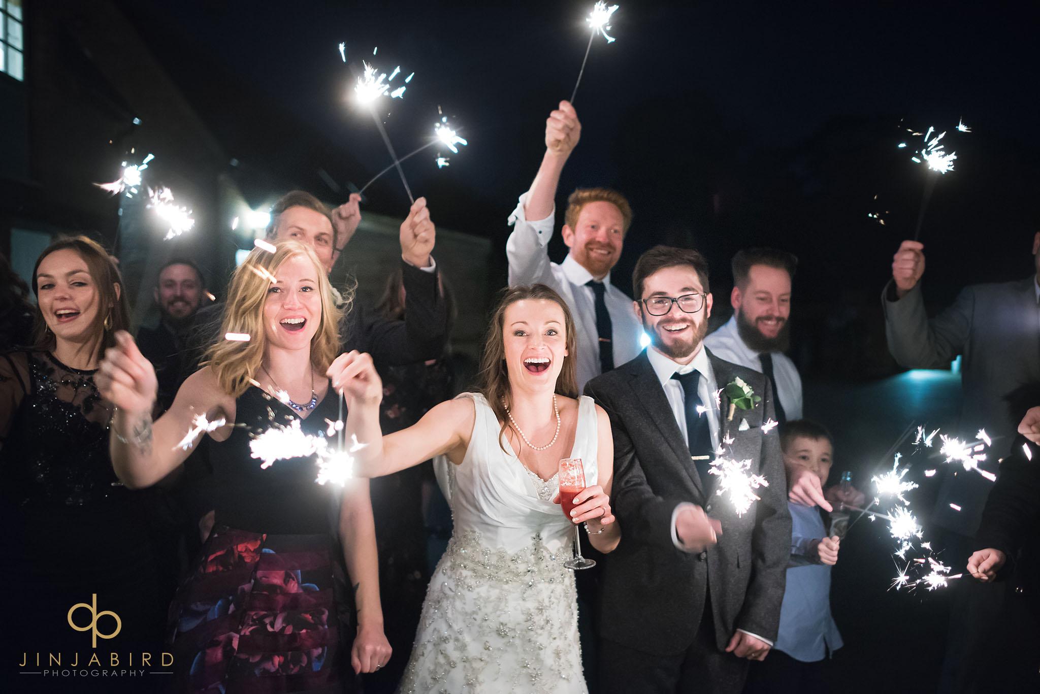 new years eve wedding sparklers bassmead manor