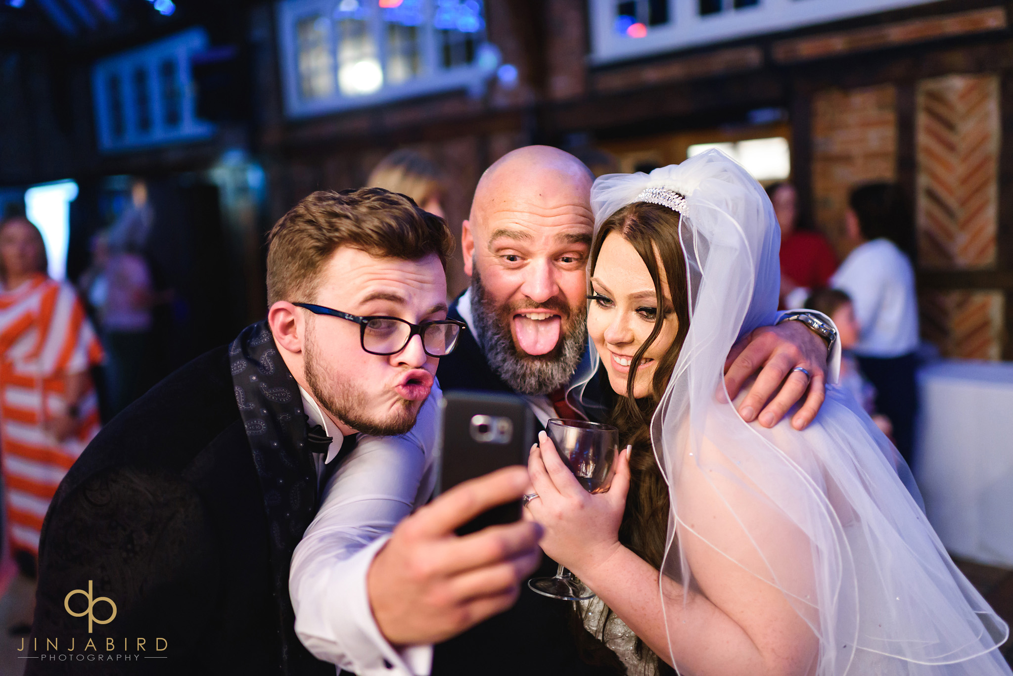 bride and groom crazy selfie