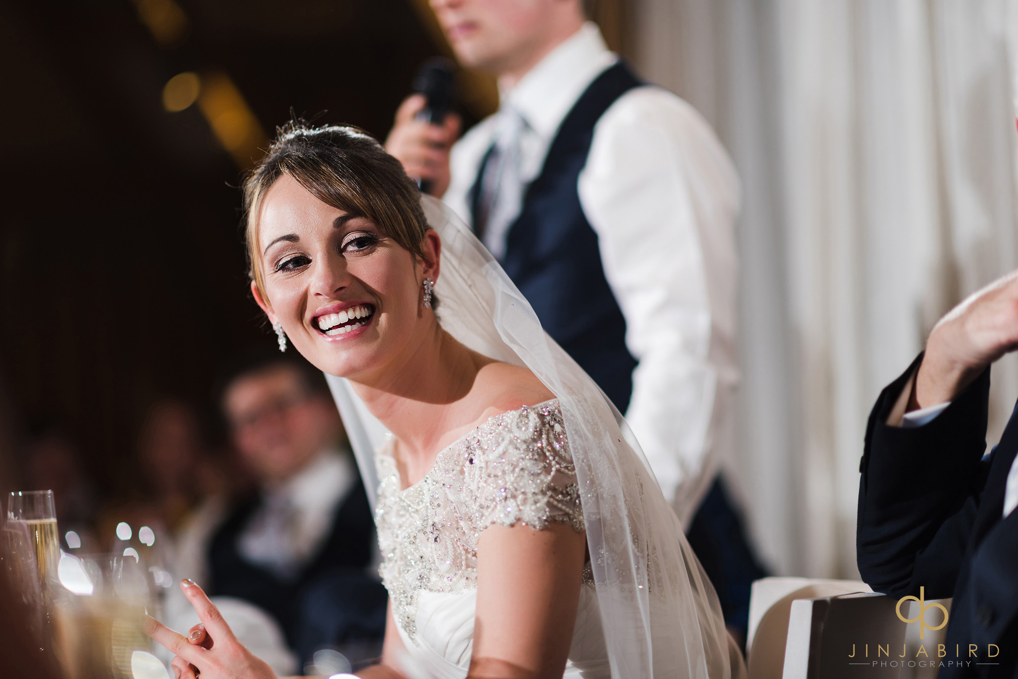 bride at top table during speeches