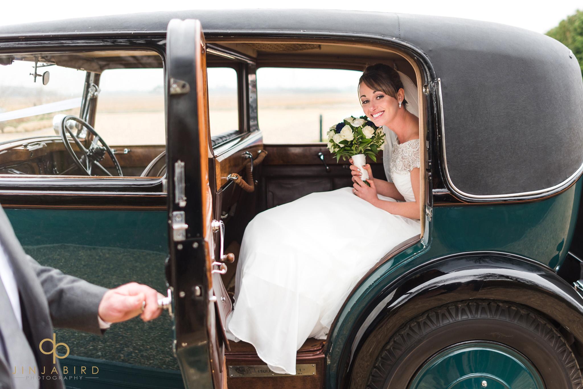 bride arriving at bassmead manor