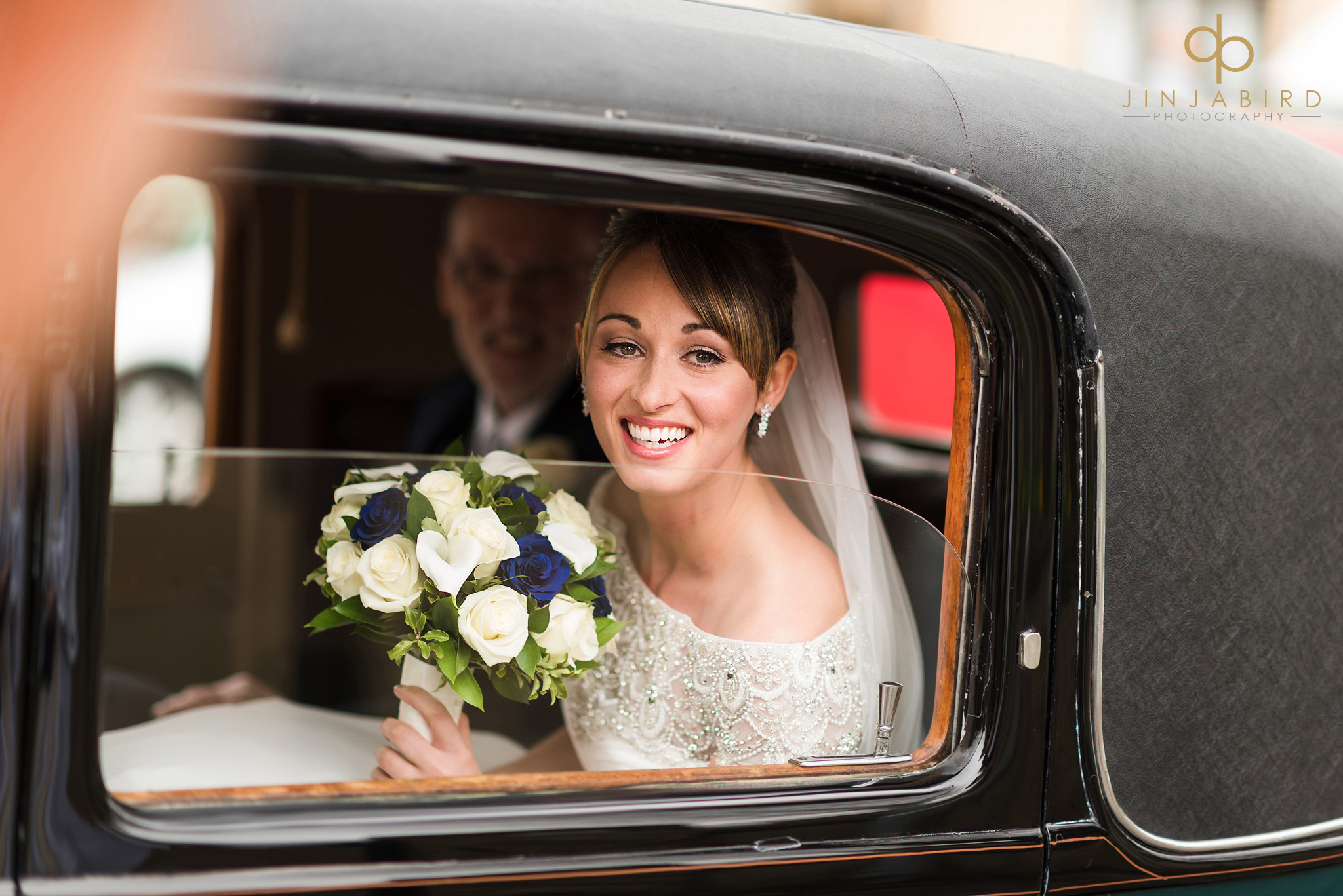 bride in car somersham church
