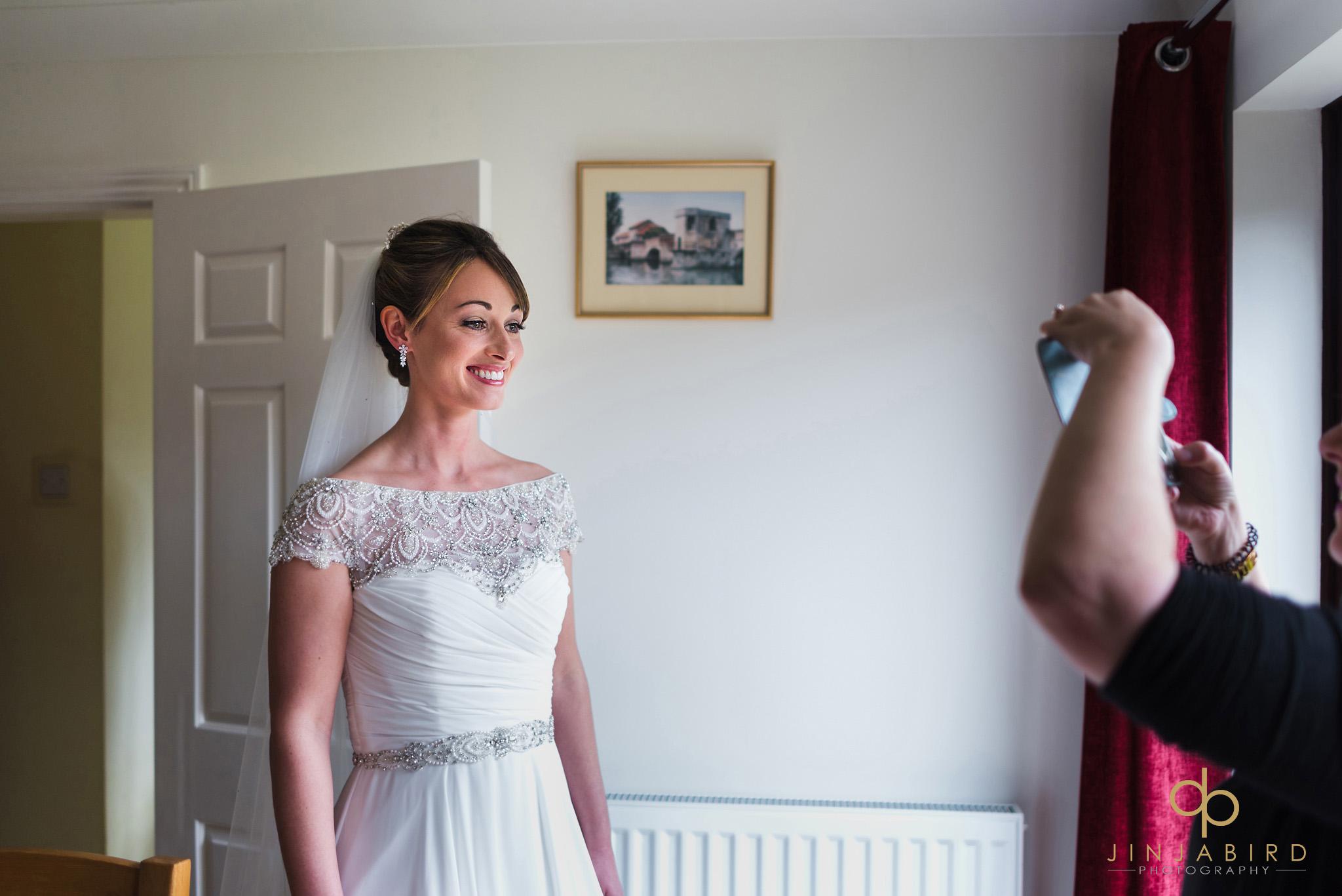 bride ready in dress