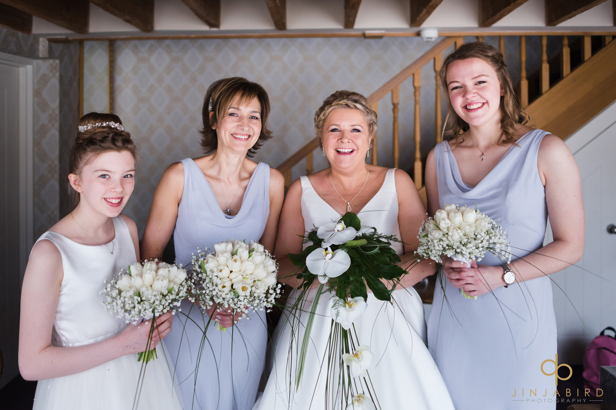 bride ready with bridesmaids