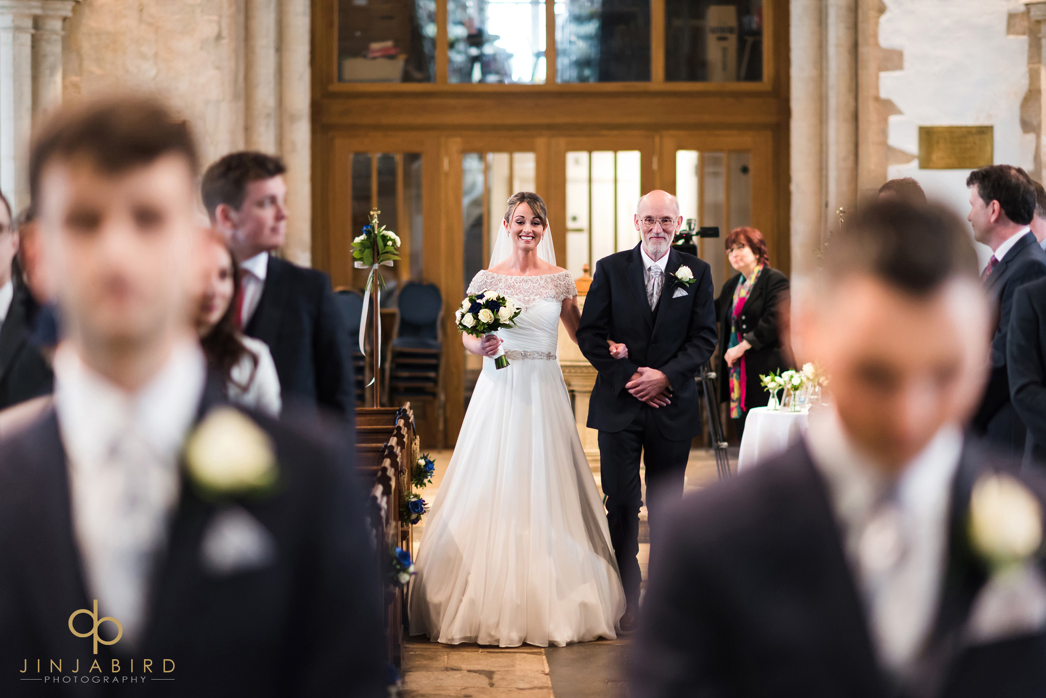 bride with father coming down aisle somersham church