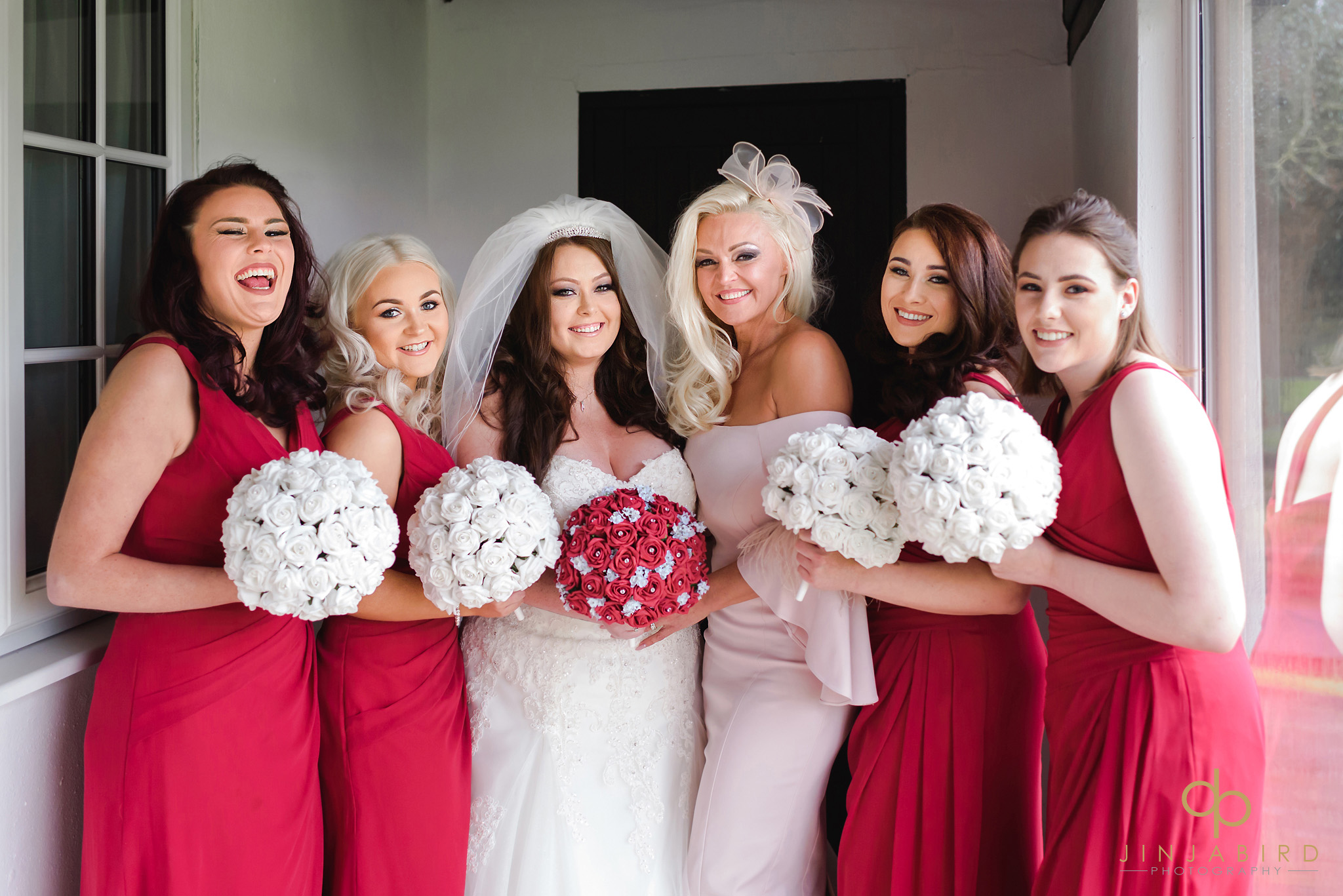 bride with bridesmaids ye olde plough house bulphan
