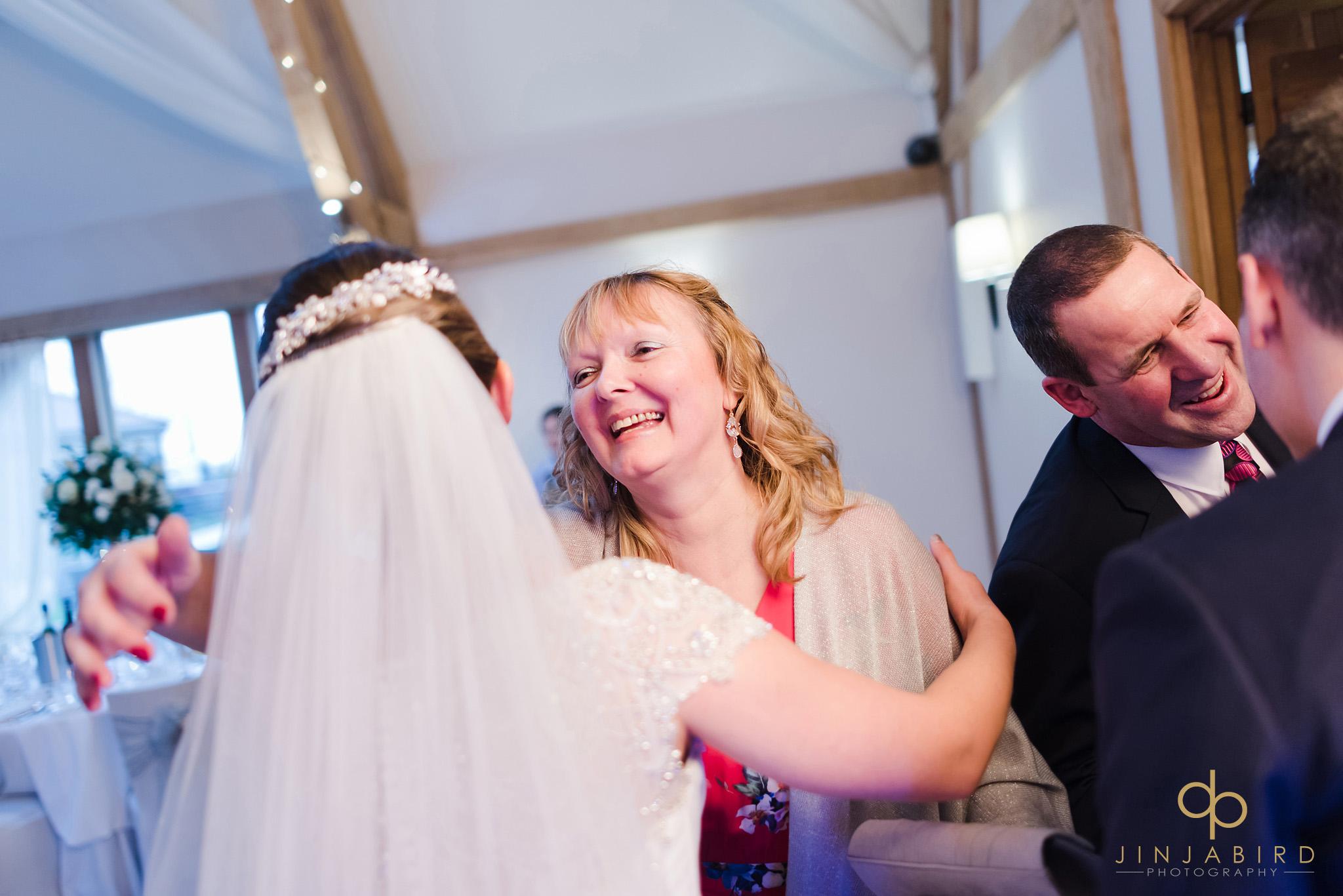 guests greeting bride