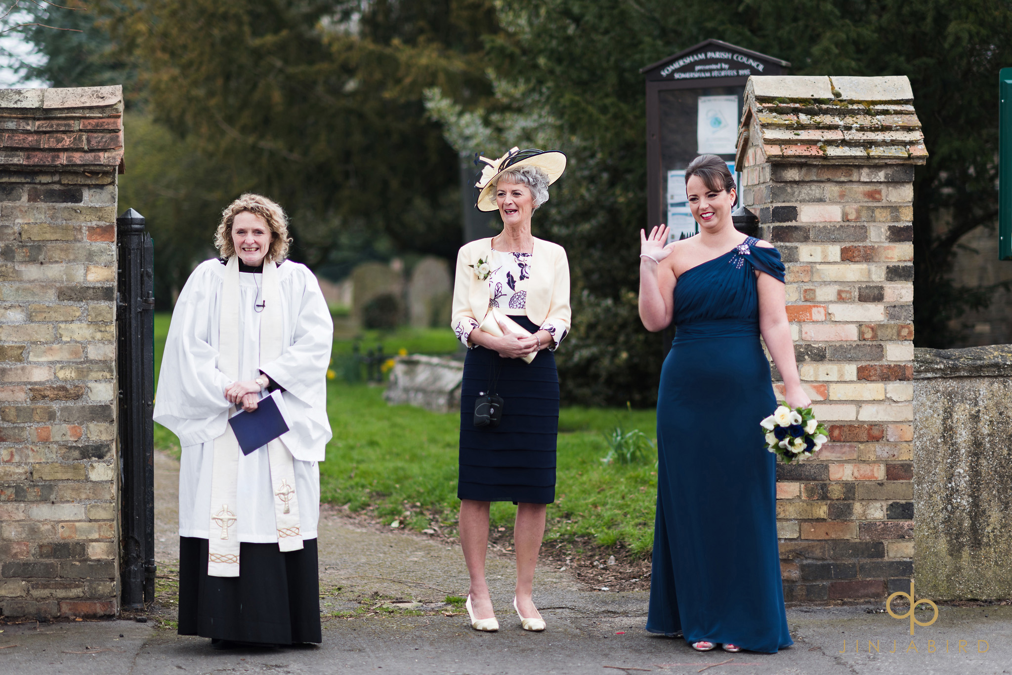 mother waiting for bride outside church