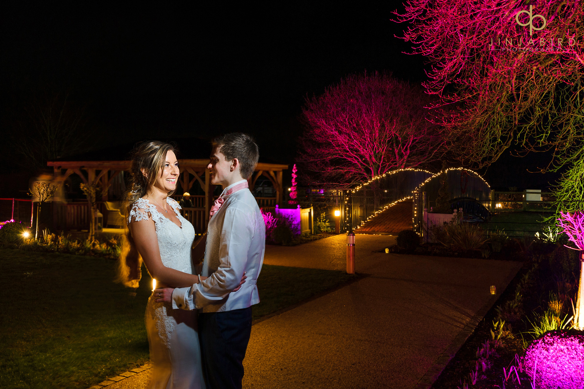 night time photo bride with groom bassmead manor