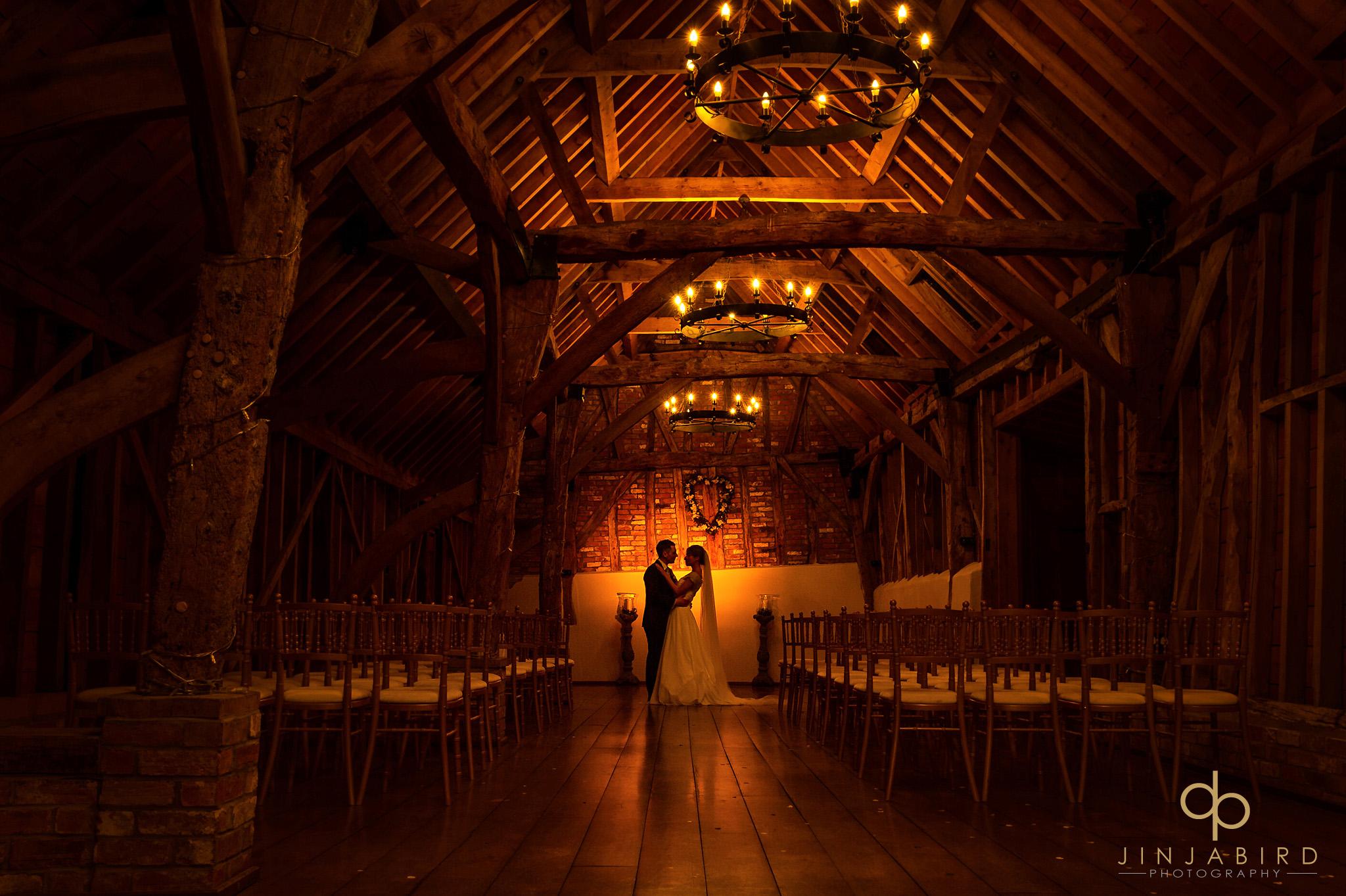 night time photo in barn bassmead manor