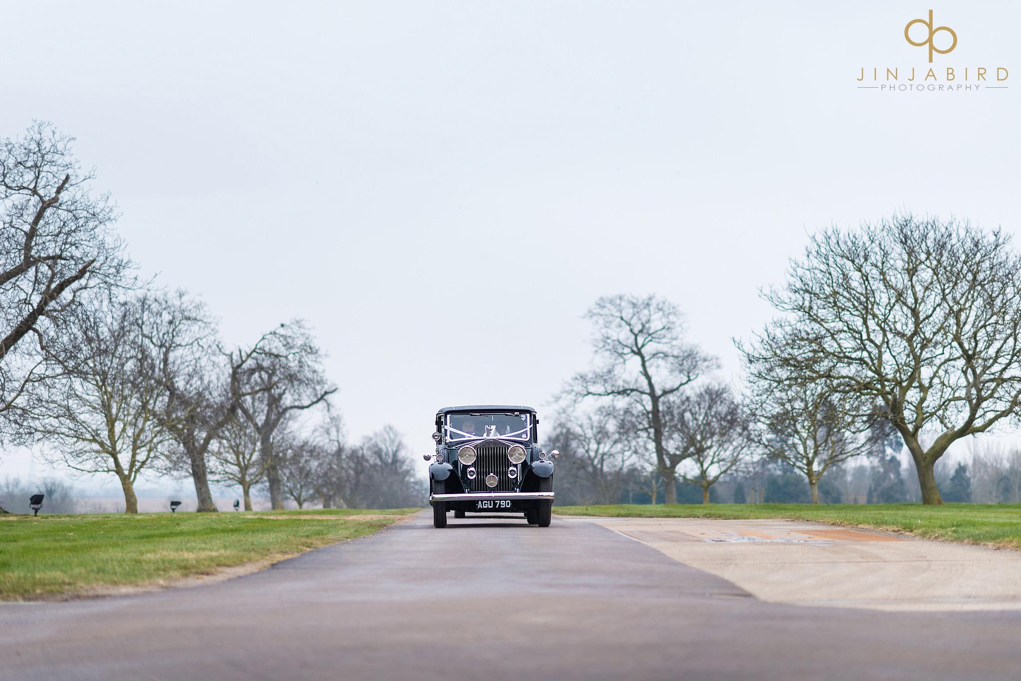 wedding car on drive bassmead manor