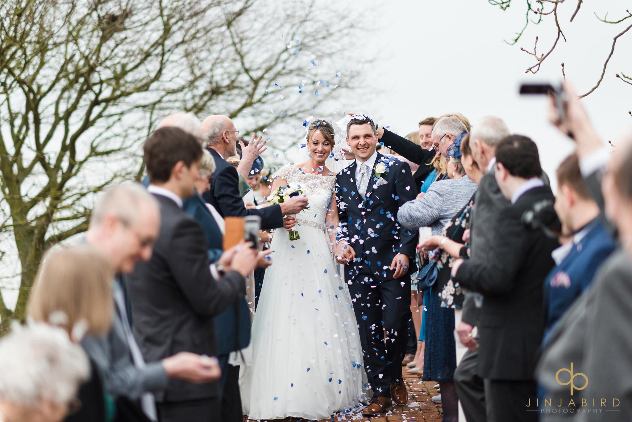wedding confetti on bridge bassmead manor