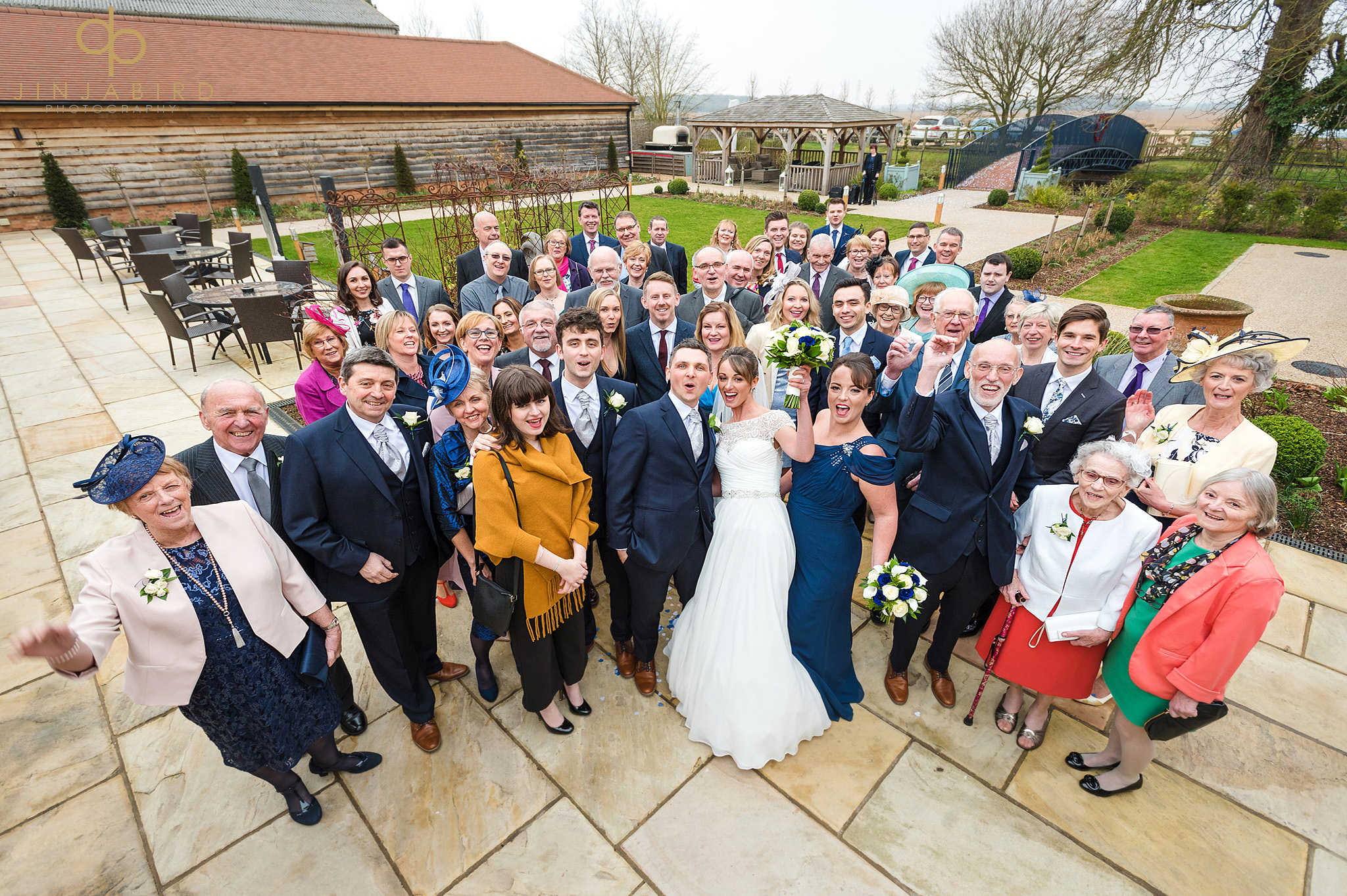 group photo wedding guests bassmead manor