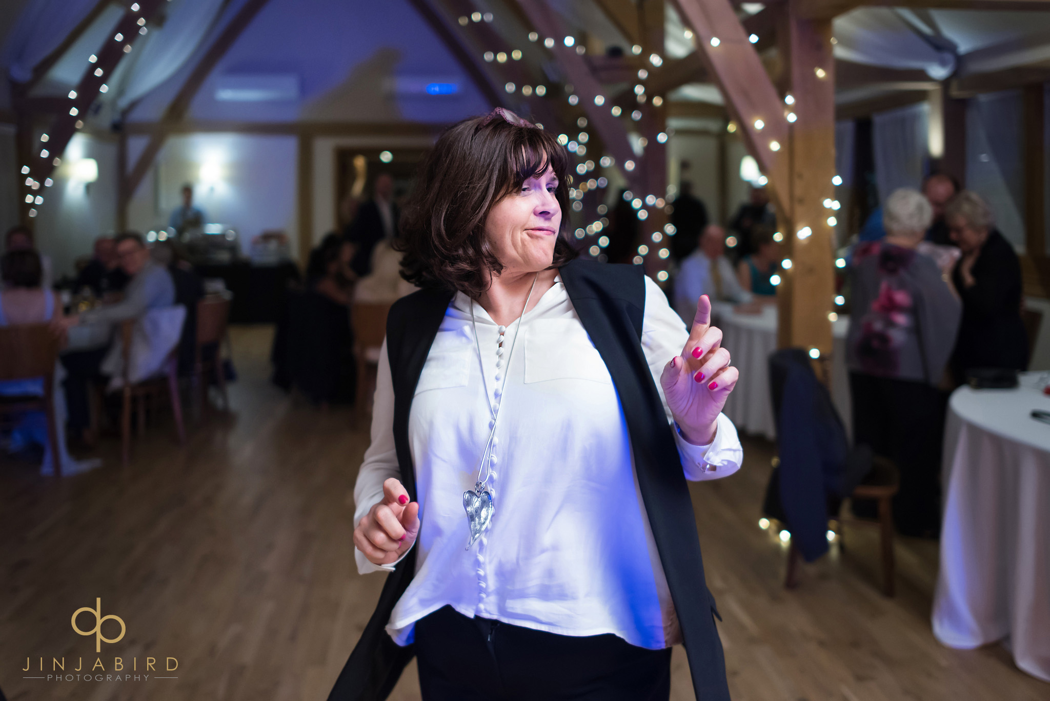 wedding guest on dancefloor