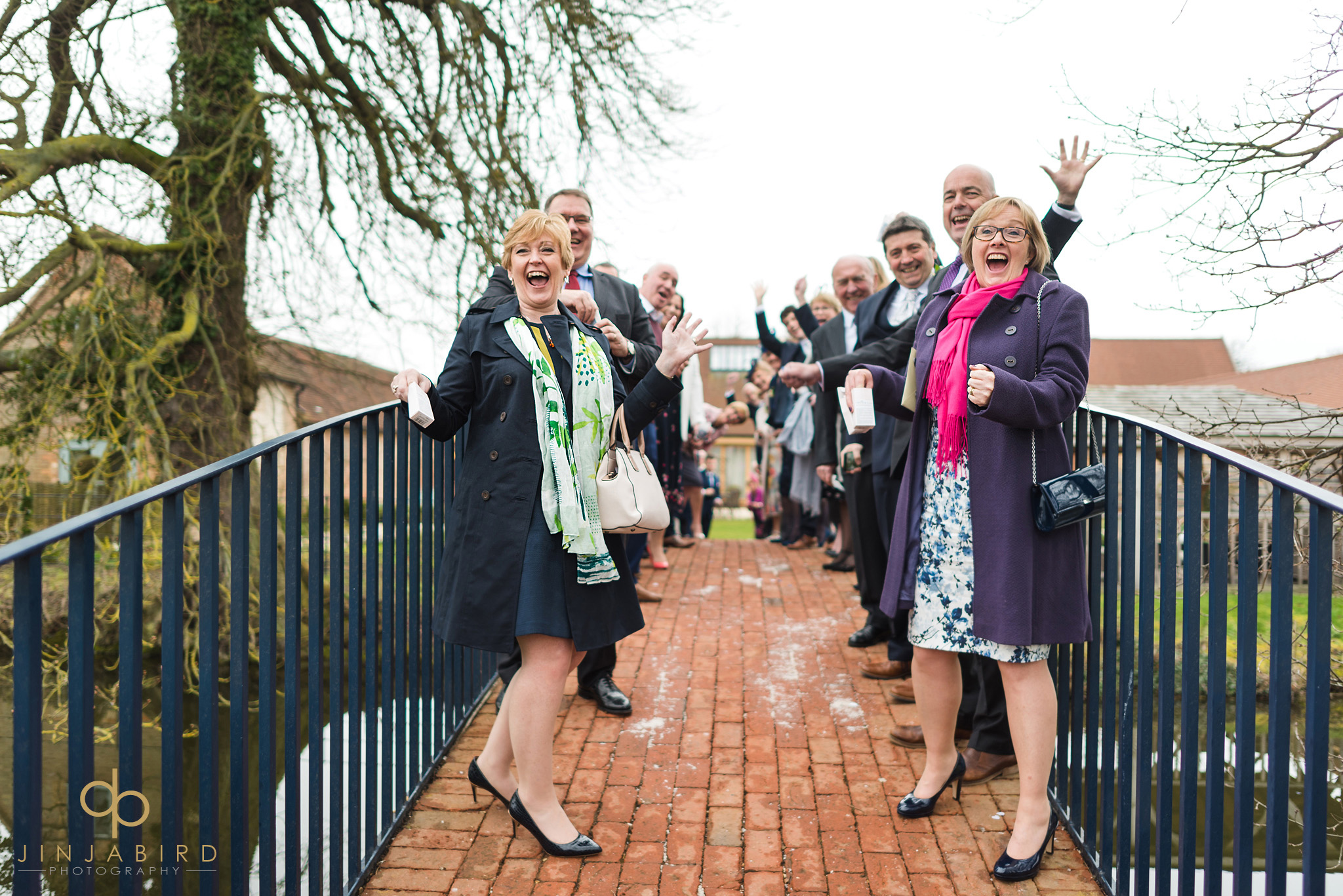wedding guests on bridge bassmead manor