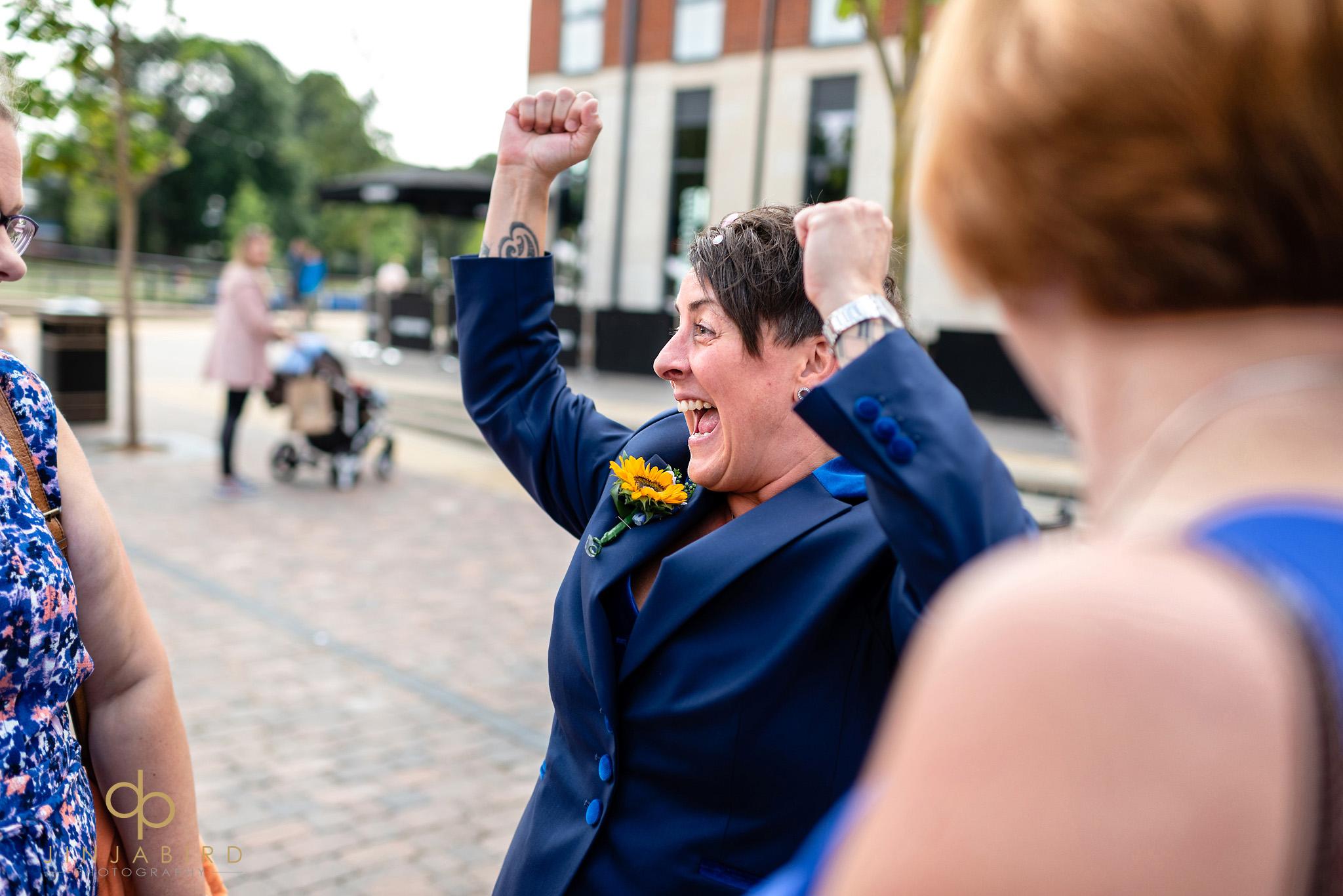 bride cheering