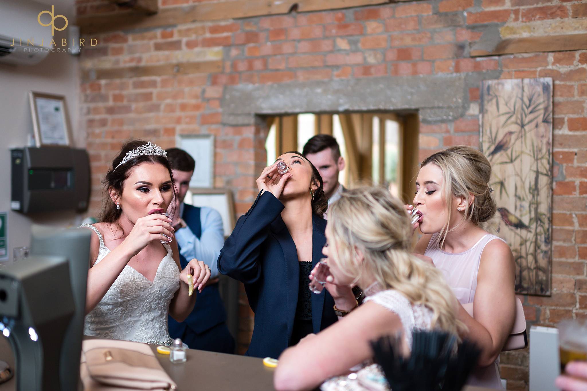 bride drinking shots