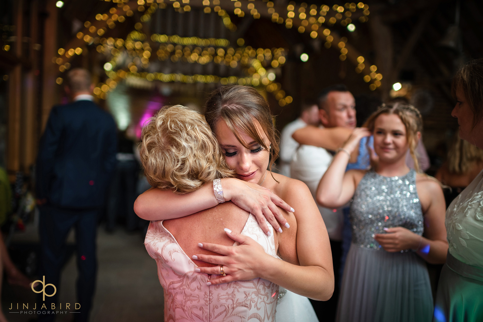 bride hugging nan thatch barn yelling