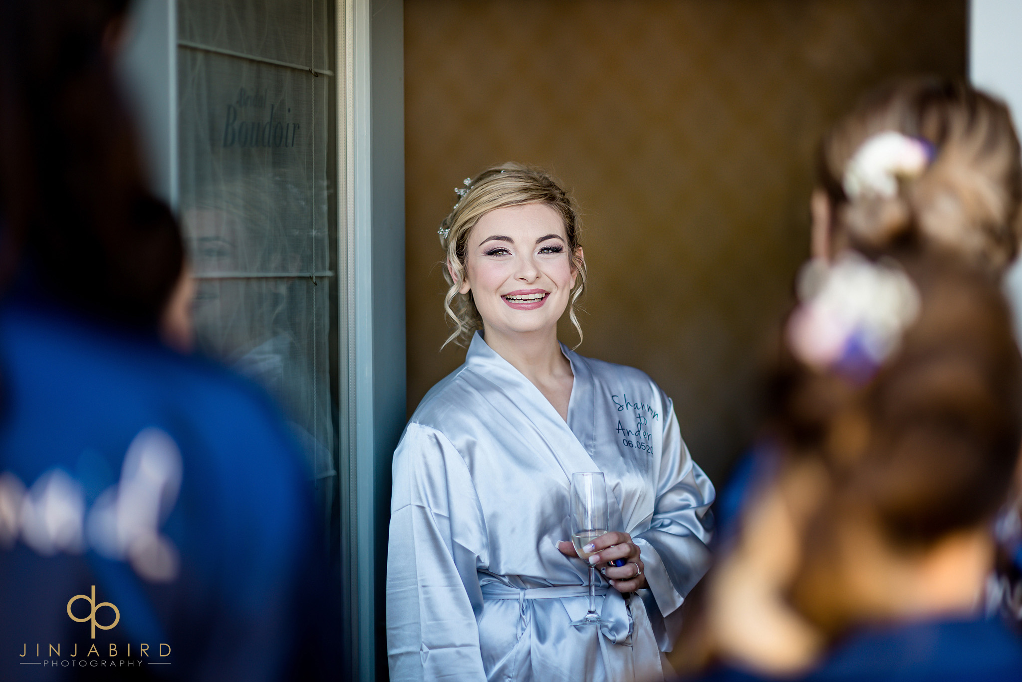 bride in dressing gown bassmead manor