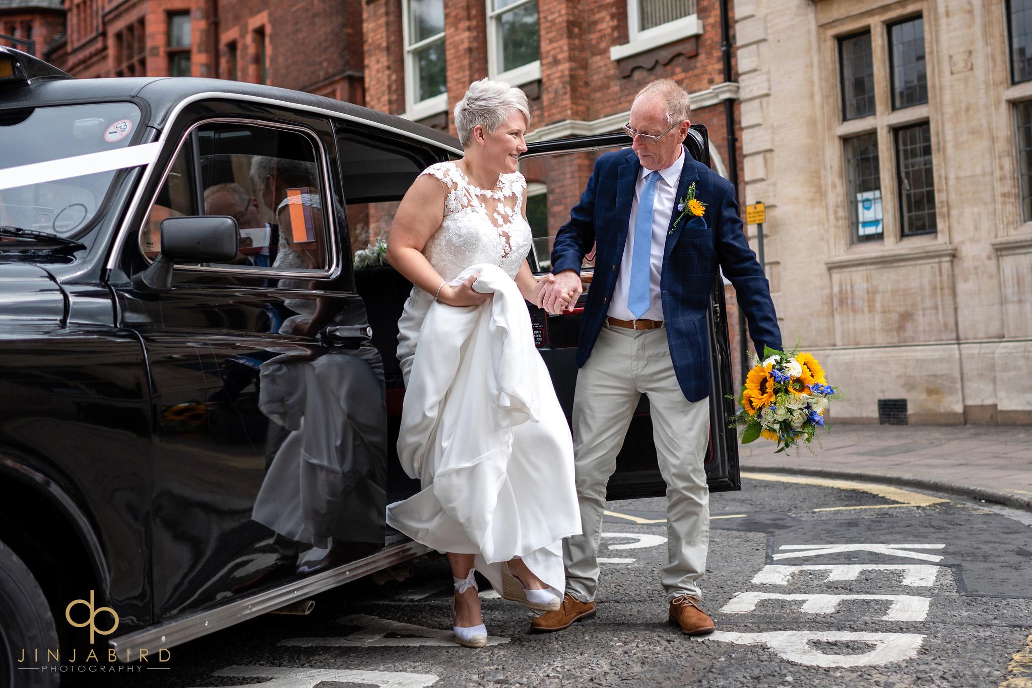bride in taxi bedford