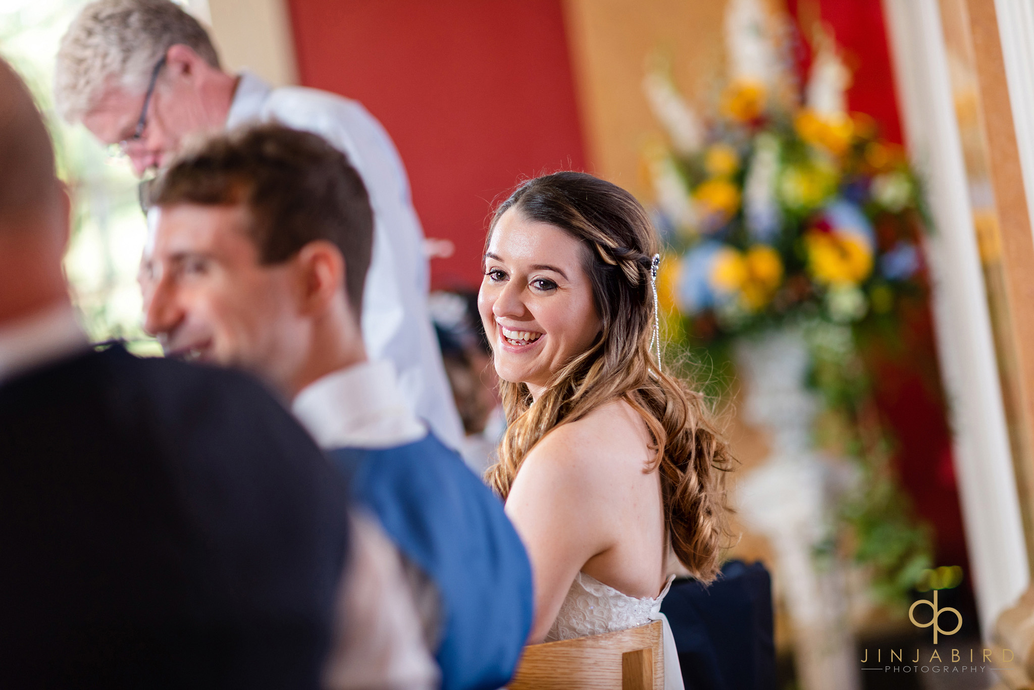 bride laughing at speech downing college cambridge