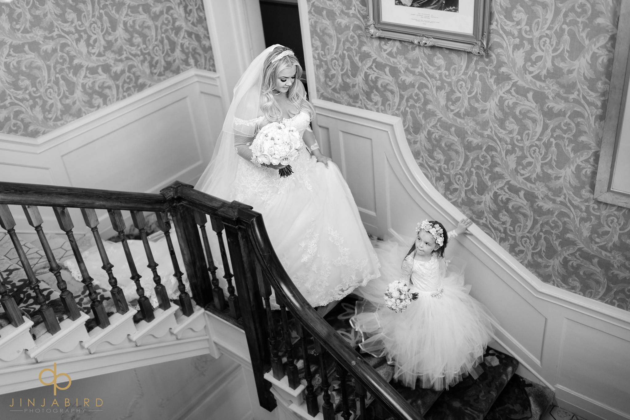 bride on stairs stoke place