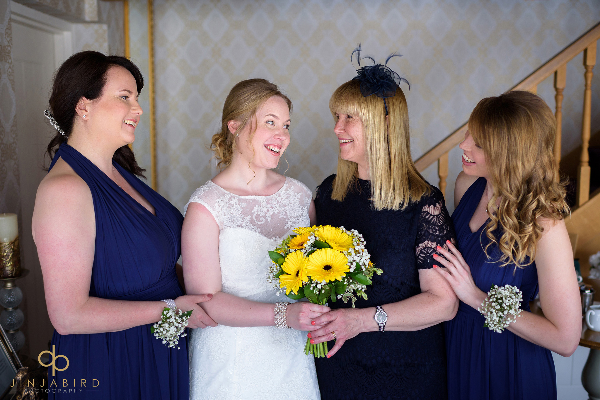 bride with bridesmaids bassmead manor