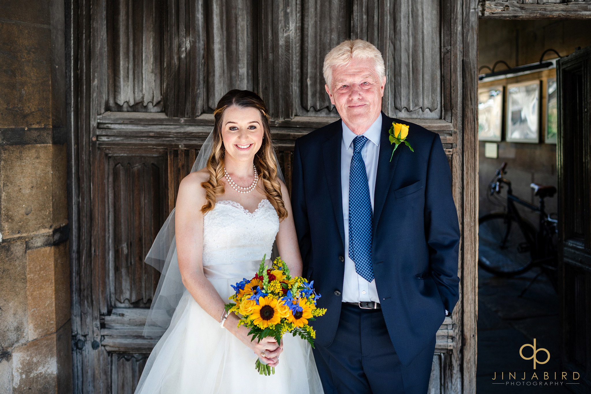 bride with father christs college cambridge