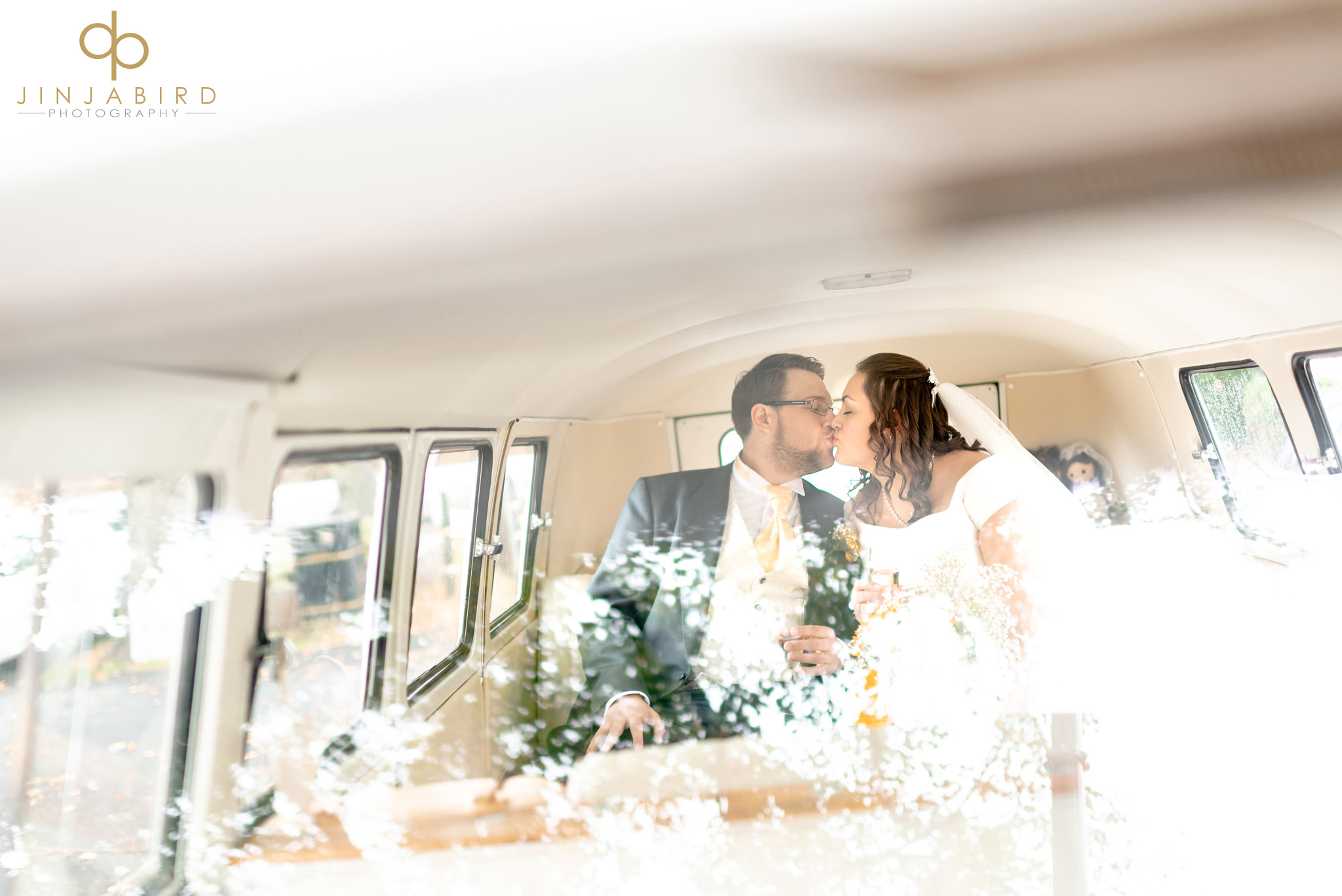 bride with groom camper van
