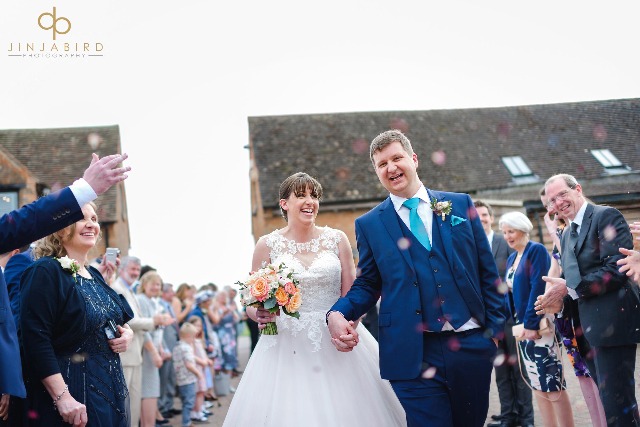 bride with groom confetti