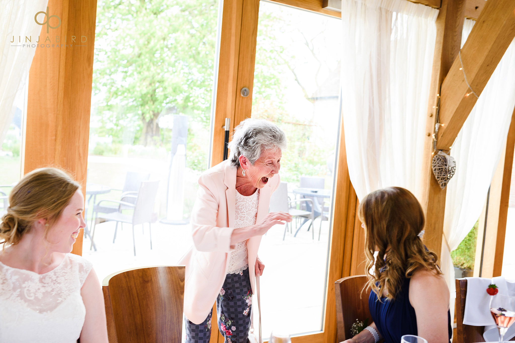 brides grandmother laughing