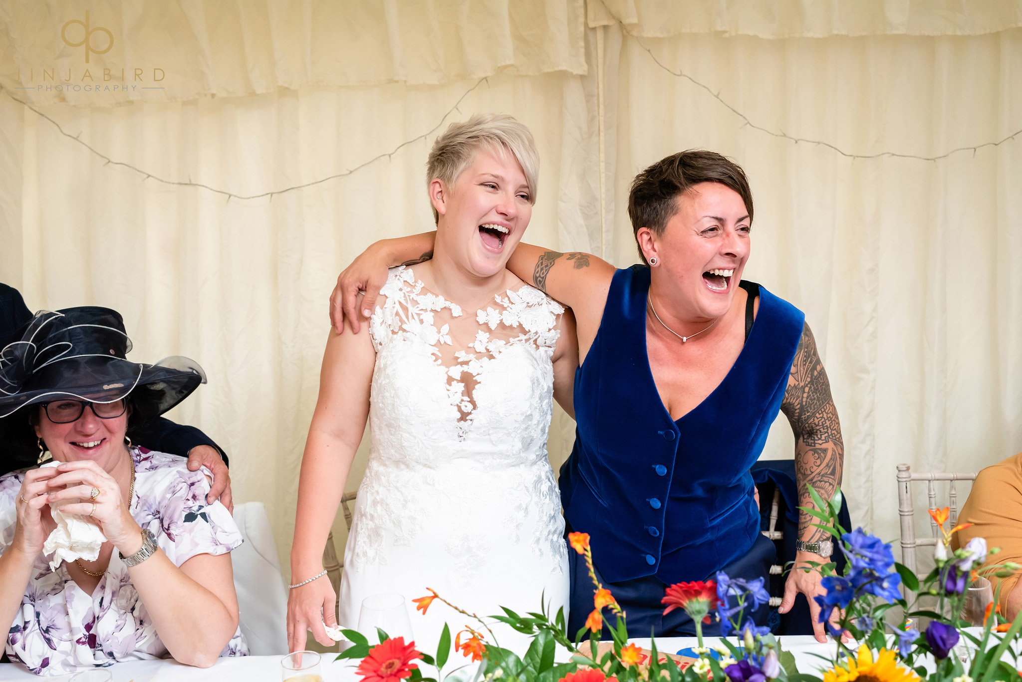 brides laughing at speech