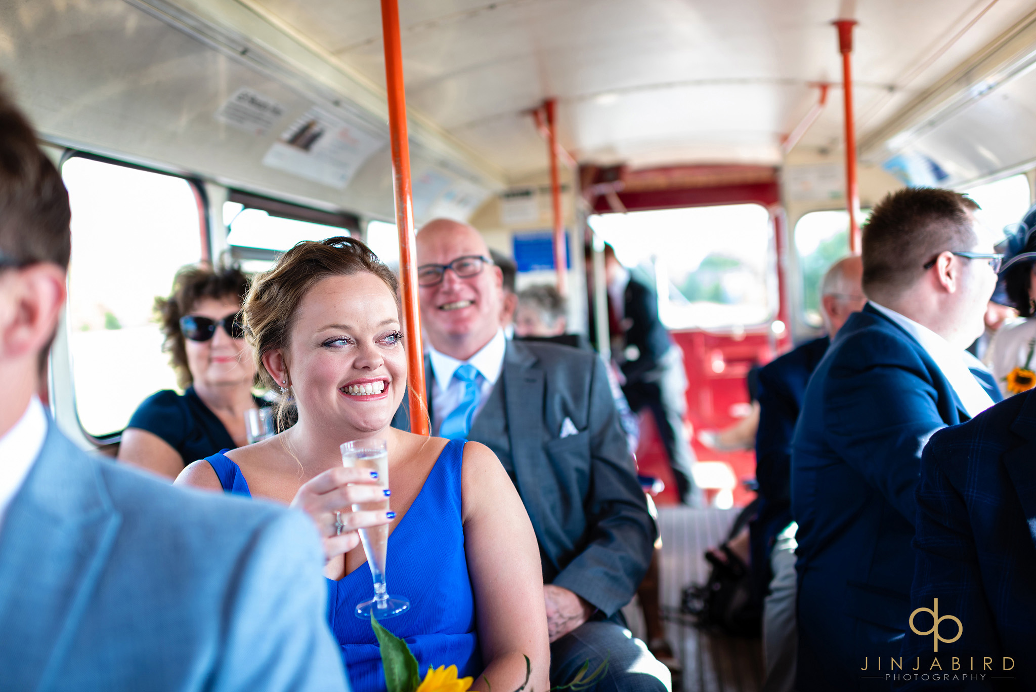 bridesmaid on bus