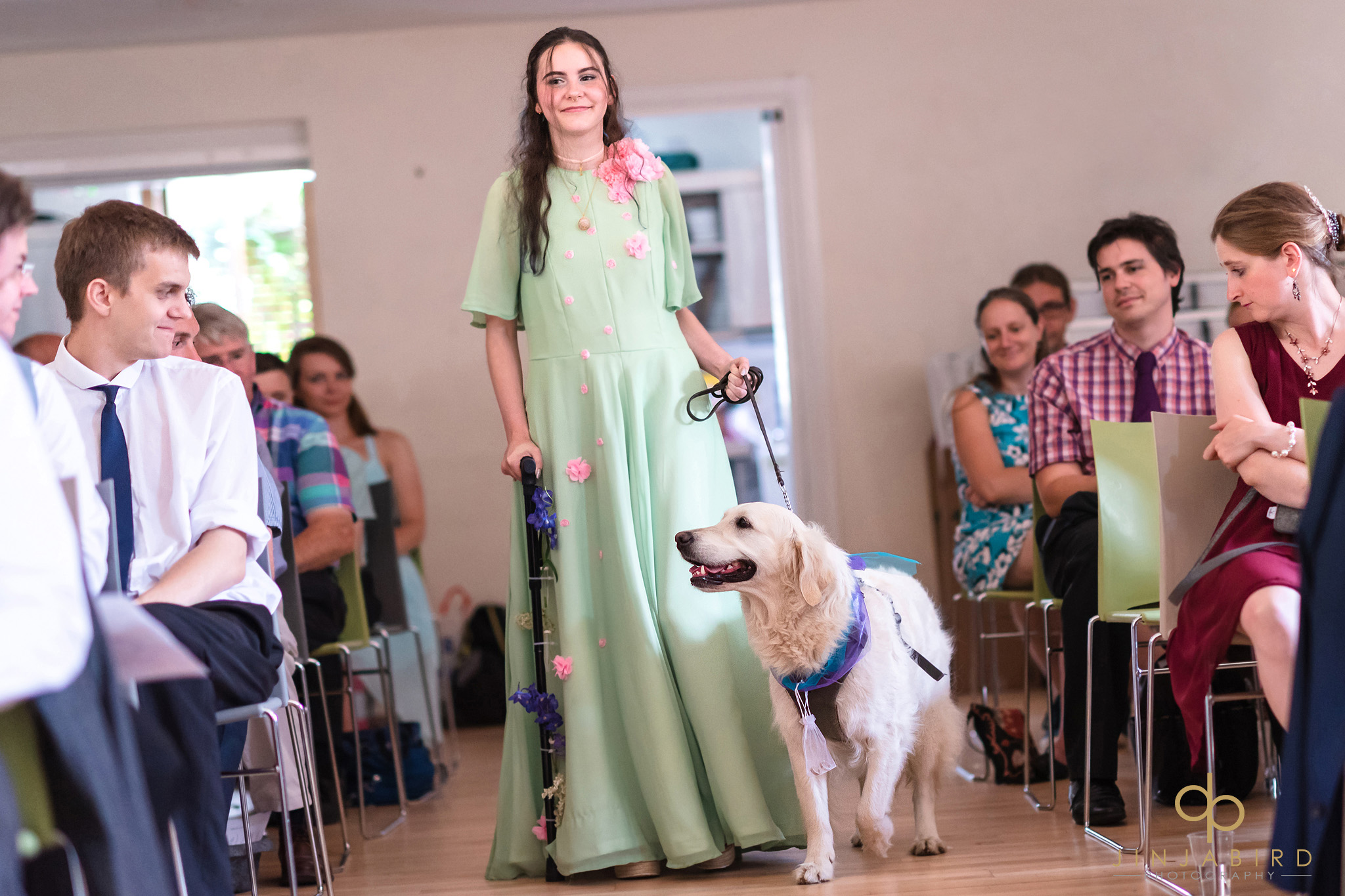 bridesmaid with dog