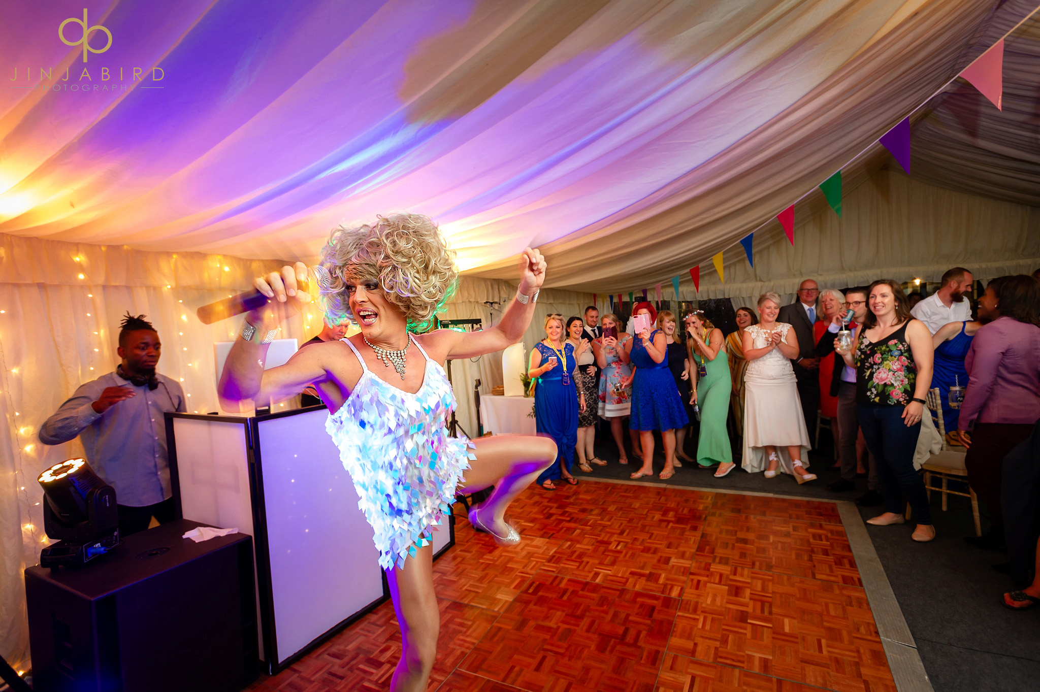 drag act at wedding bedford