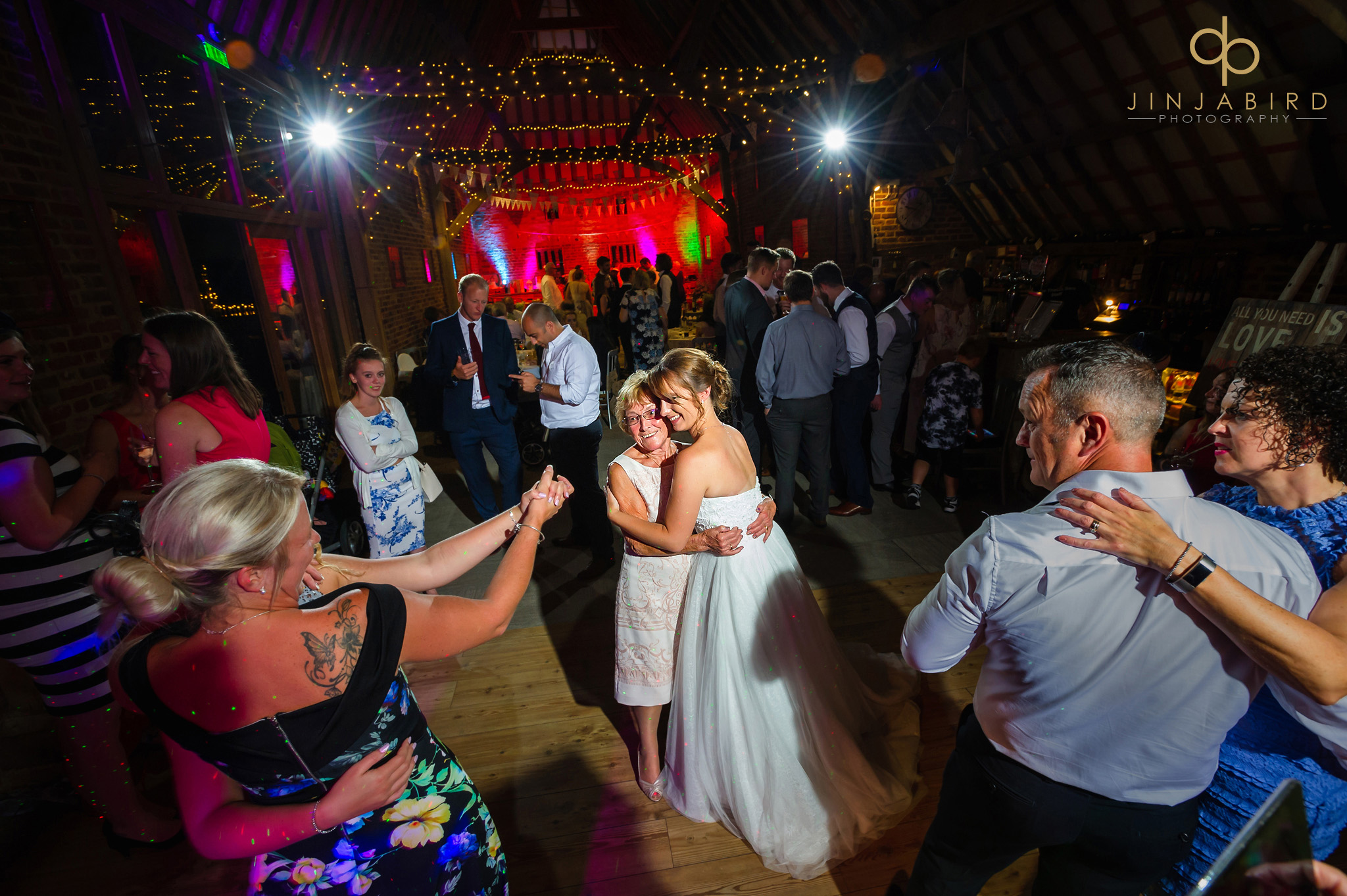 evening wedding reception thatch barn yelling