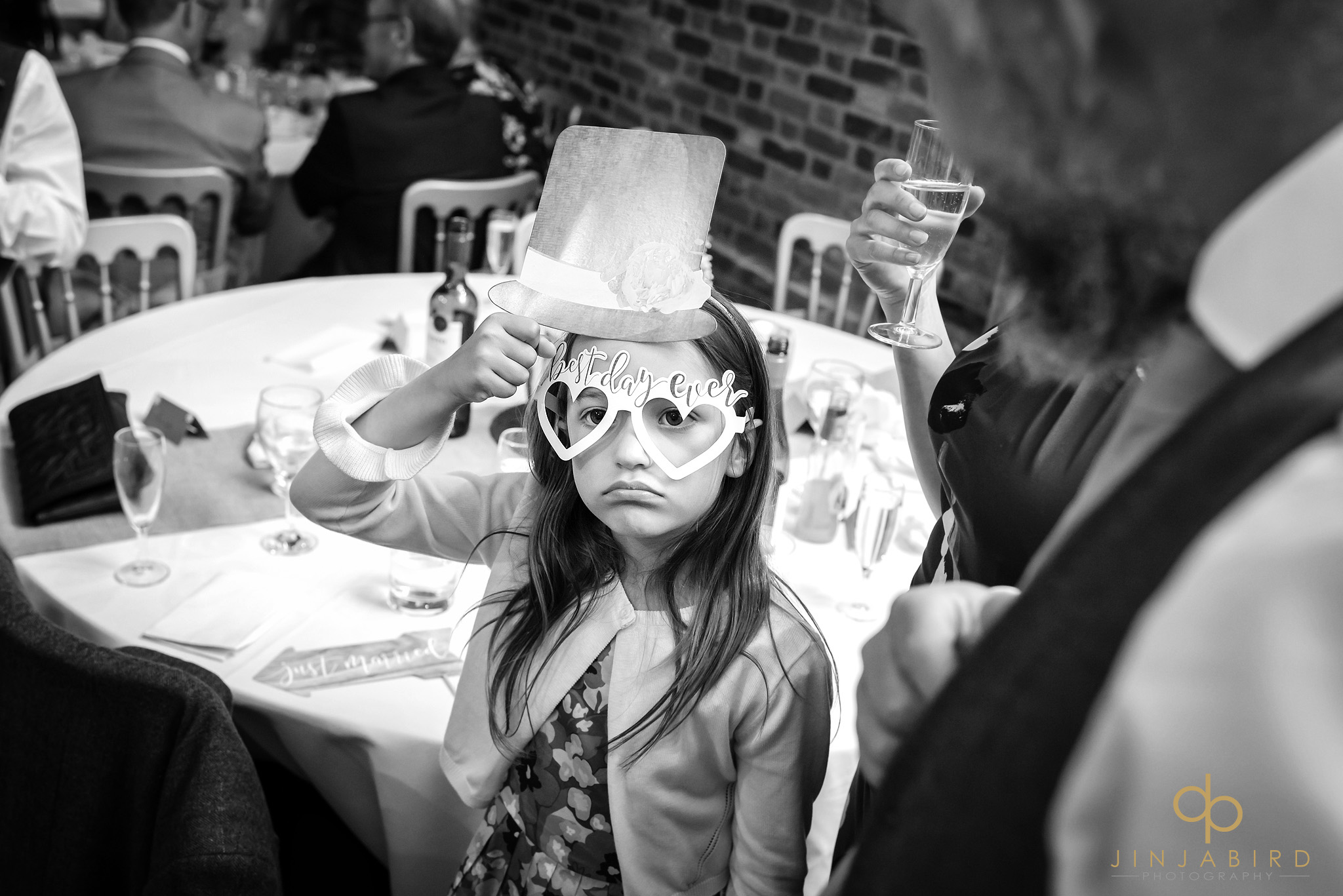 flower-girl with funny glasses