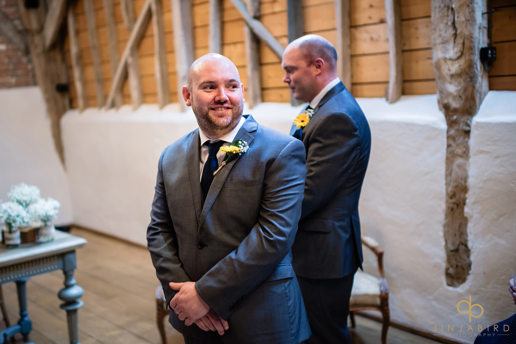 groom waits for bride rickety barn bassmead