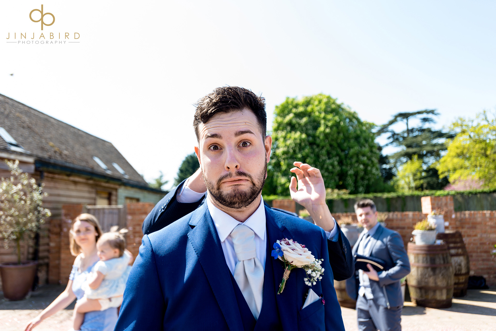 groom with funny face