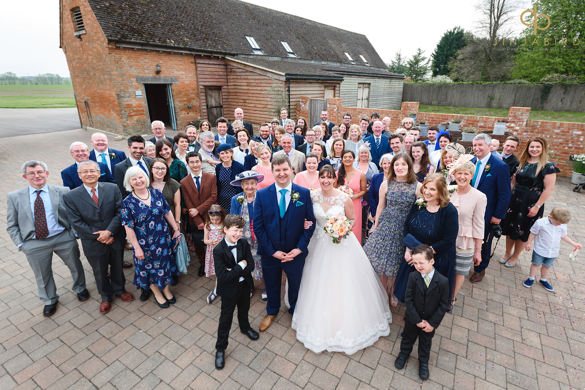 group photo at wedding bassmead manor